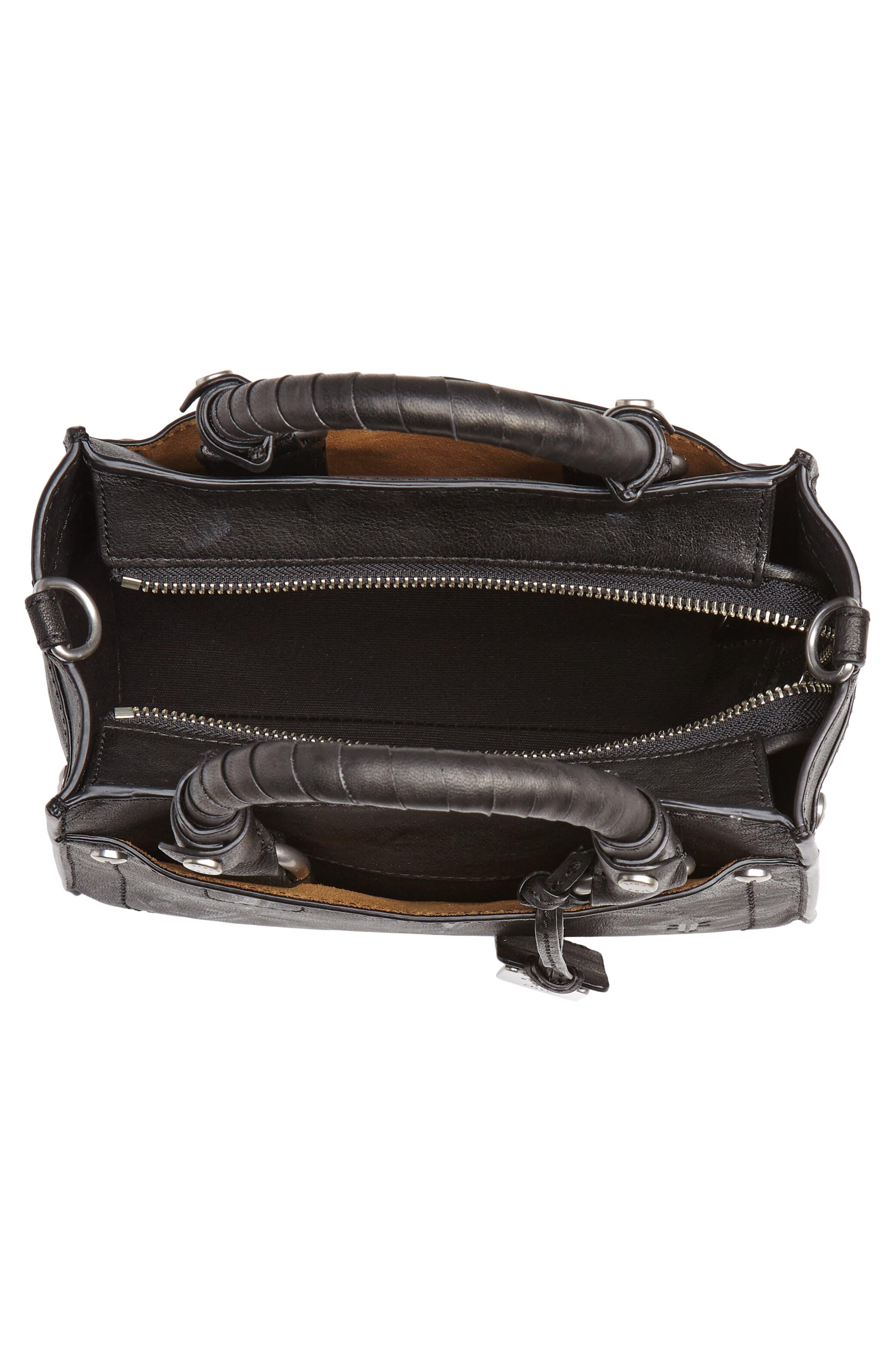 Mini Demi Leather Satchel,                             Alternate thumbnail 4, color,                             BLACK