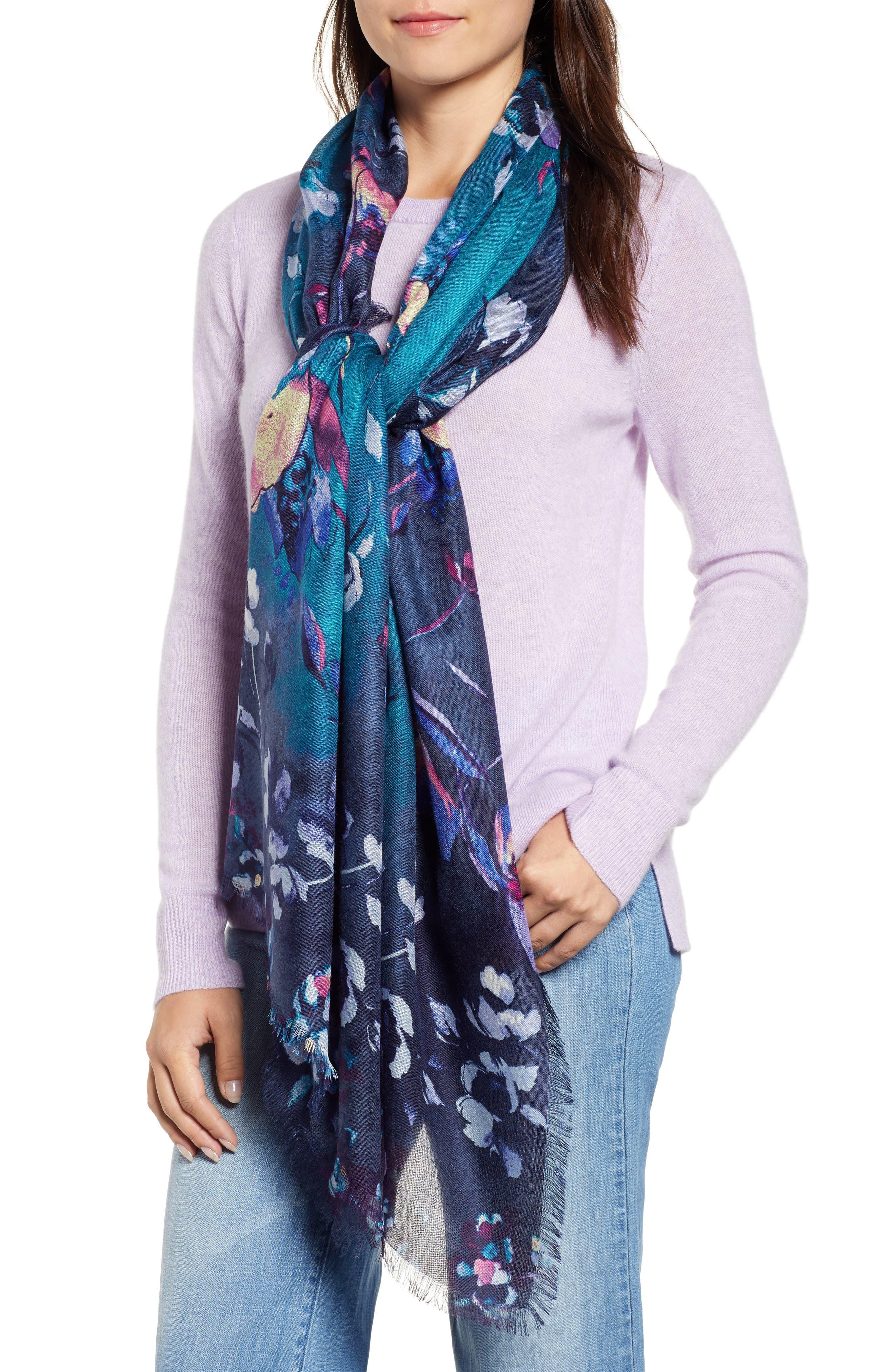 Eyelash Trim Print Cashmere & Silk Wrap,                             Main thumbnail 8, color,