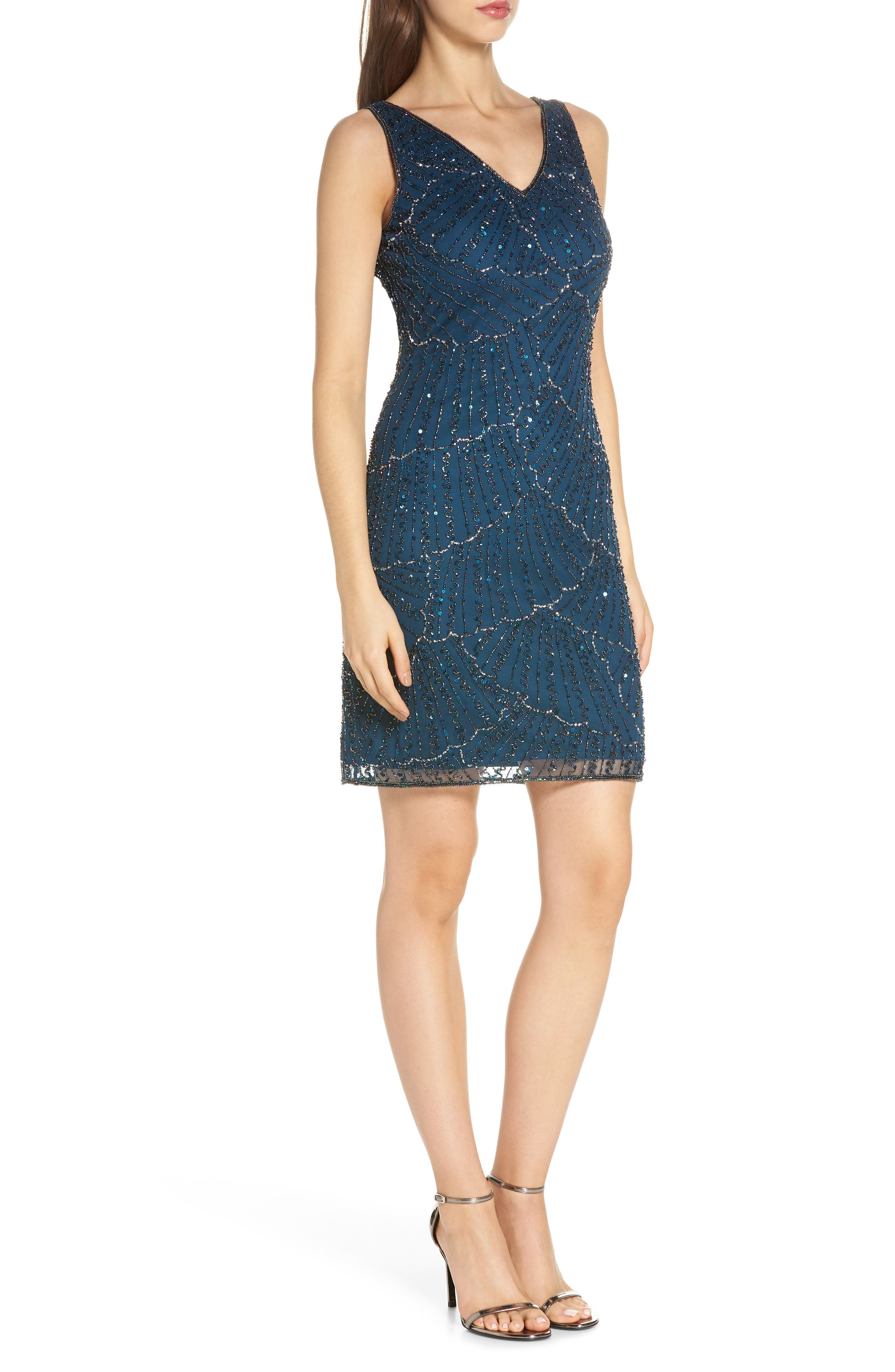 Beaded Sheath Dress,                             Alternate thumbnail 3, color,                             405
