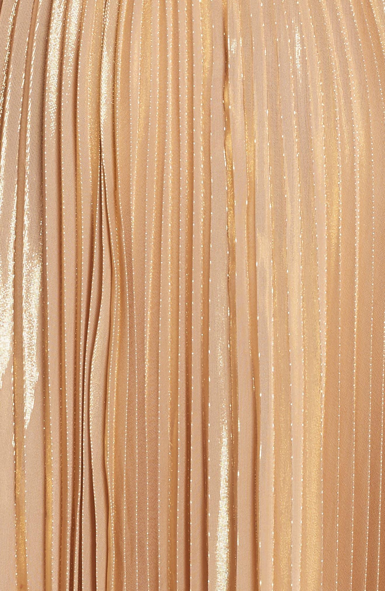 pleat metallic pleat midi skirt,                             Alternate thumbnail 5, color,                             ROASTED PEANUT