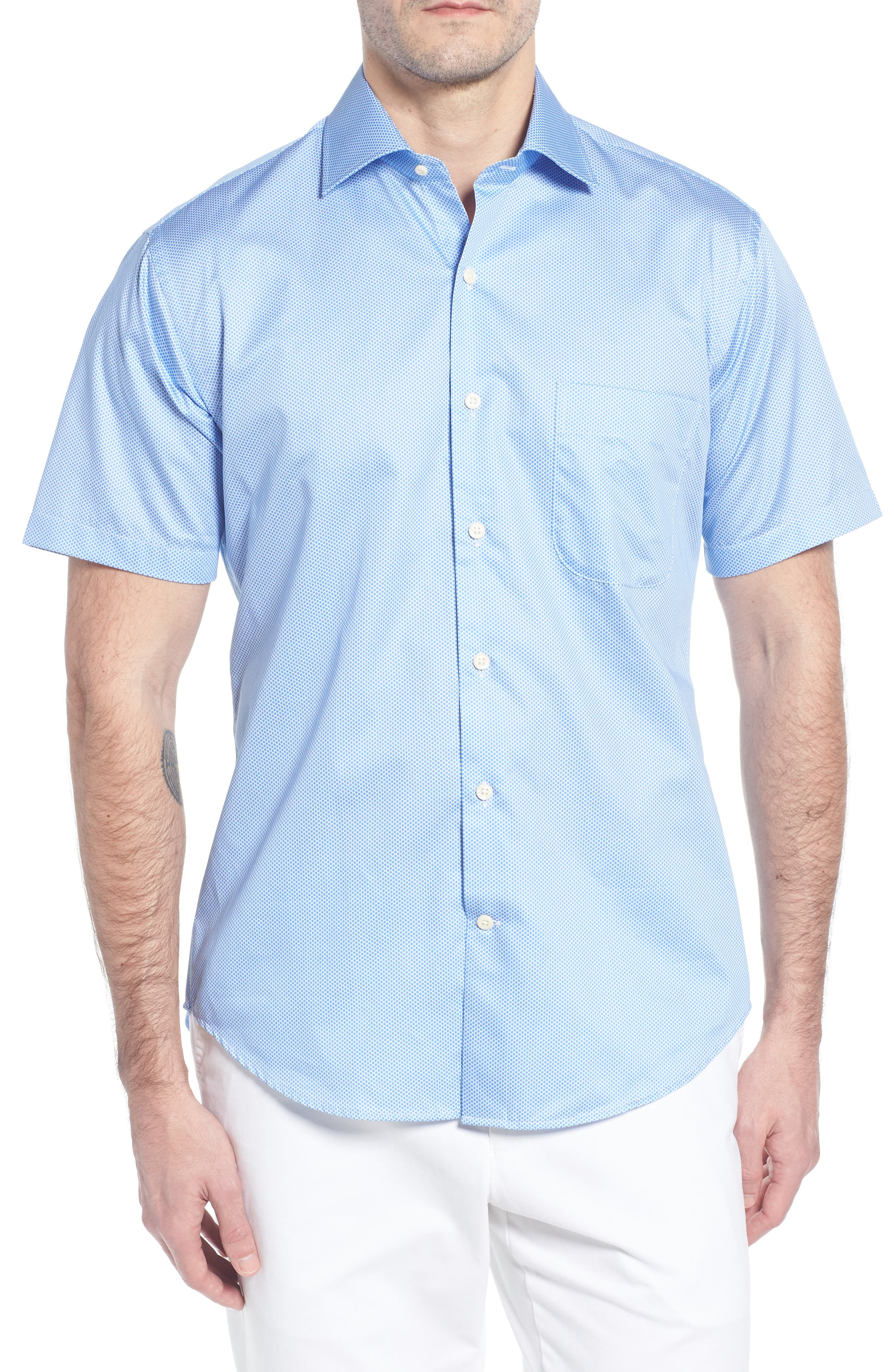 Crown Ease Connecting the Dots Sport Shirt,                             Main thumbnail 1, color,                             ATLAS BLUE