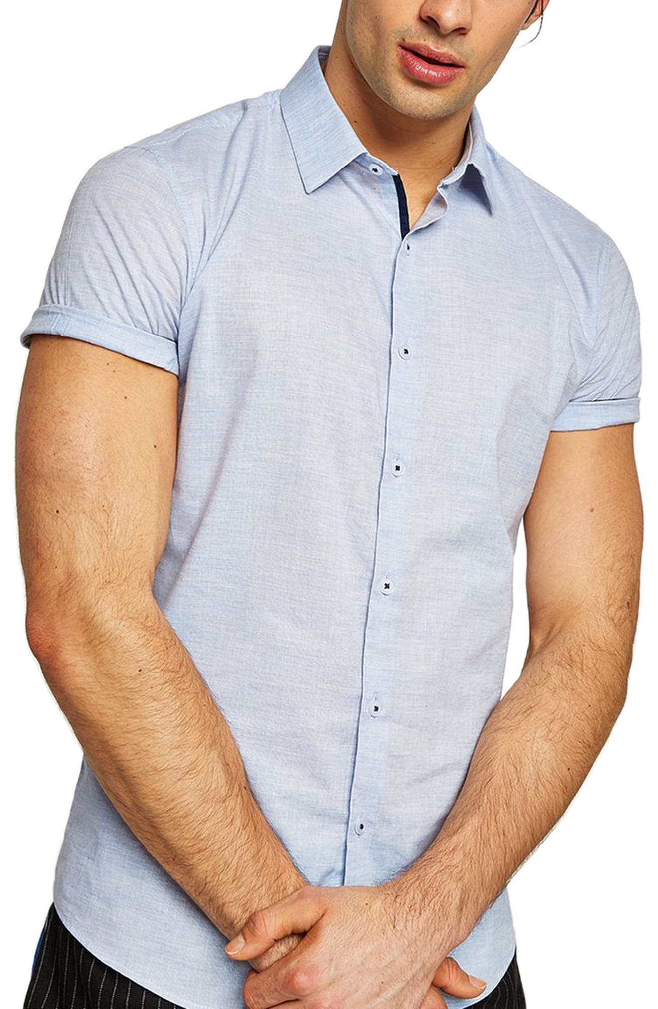 Skinny Fit Slub Shirt,                         Main,                         color, BLUE