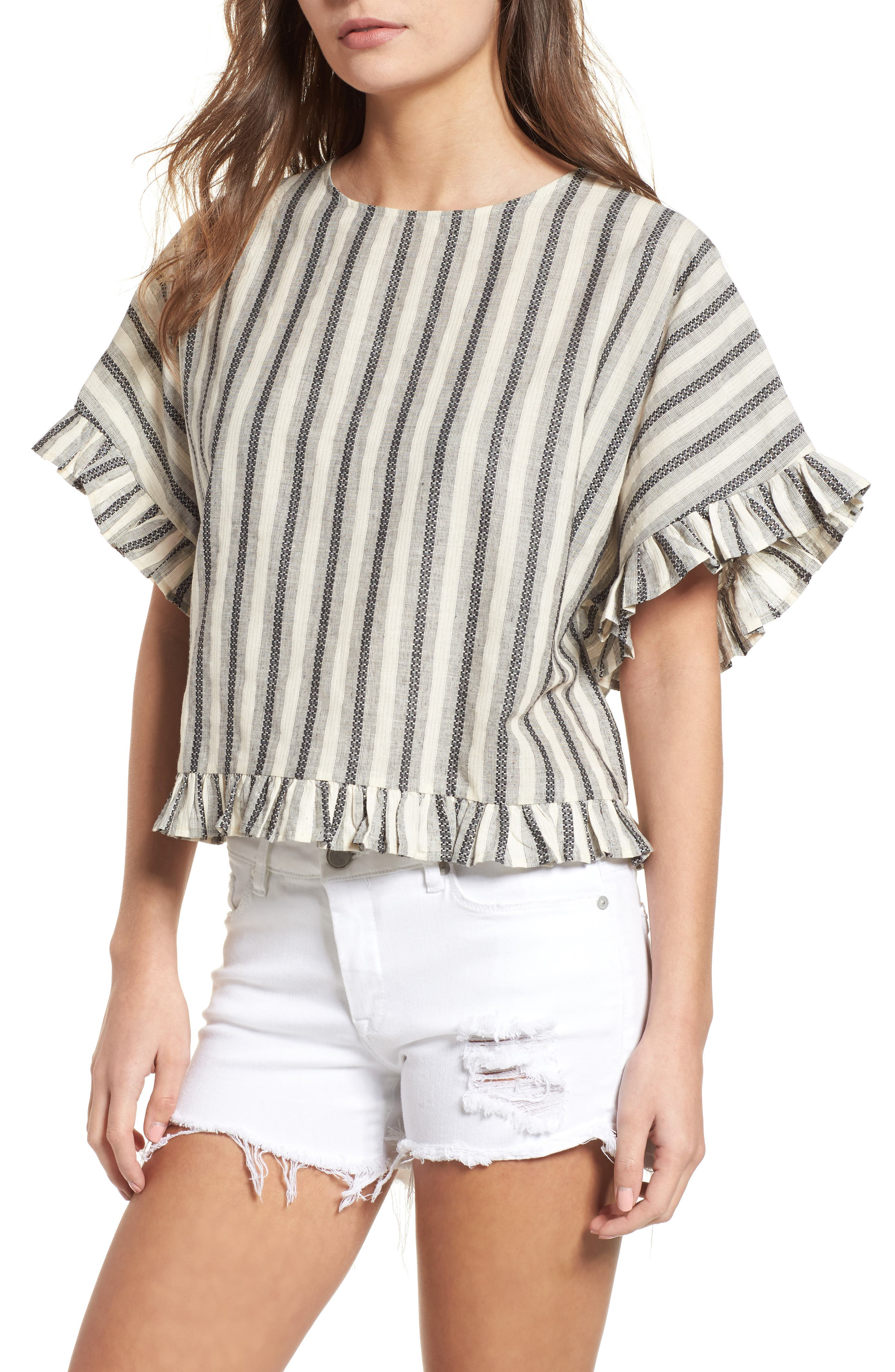 Stripe Ruffle Trim Top,                         Main,                         color, 100