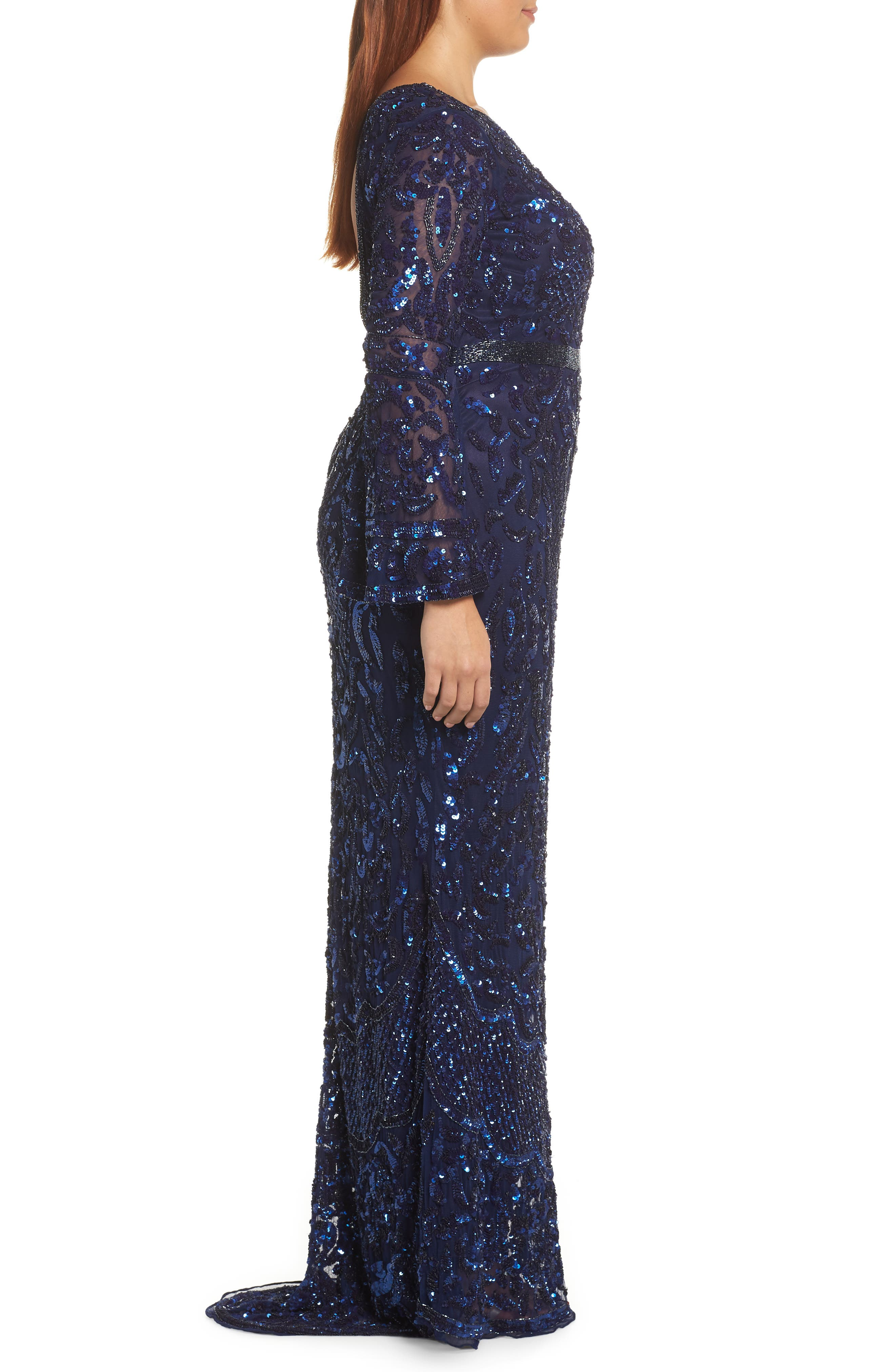 Sequin Bell Sleeve Gown,                             Alternate thumbnail 10, color,                             MIDNIGHT