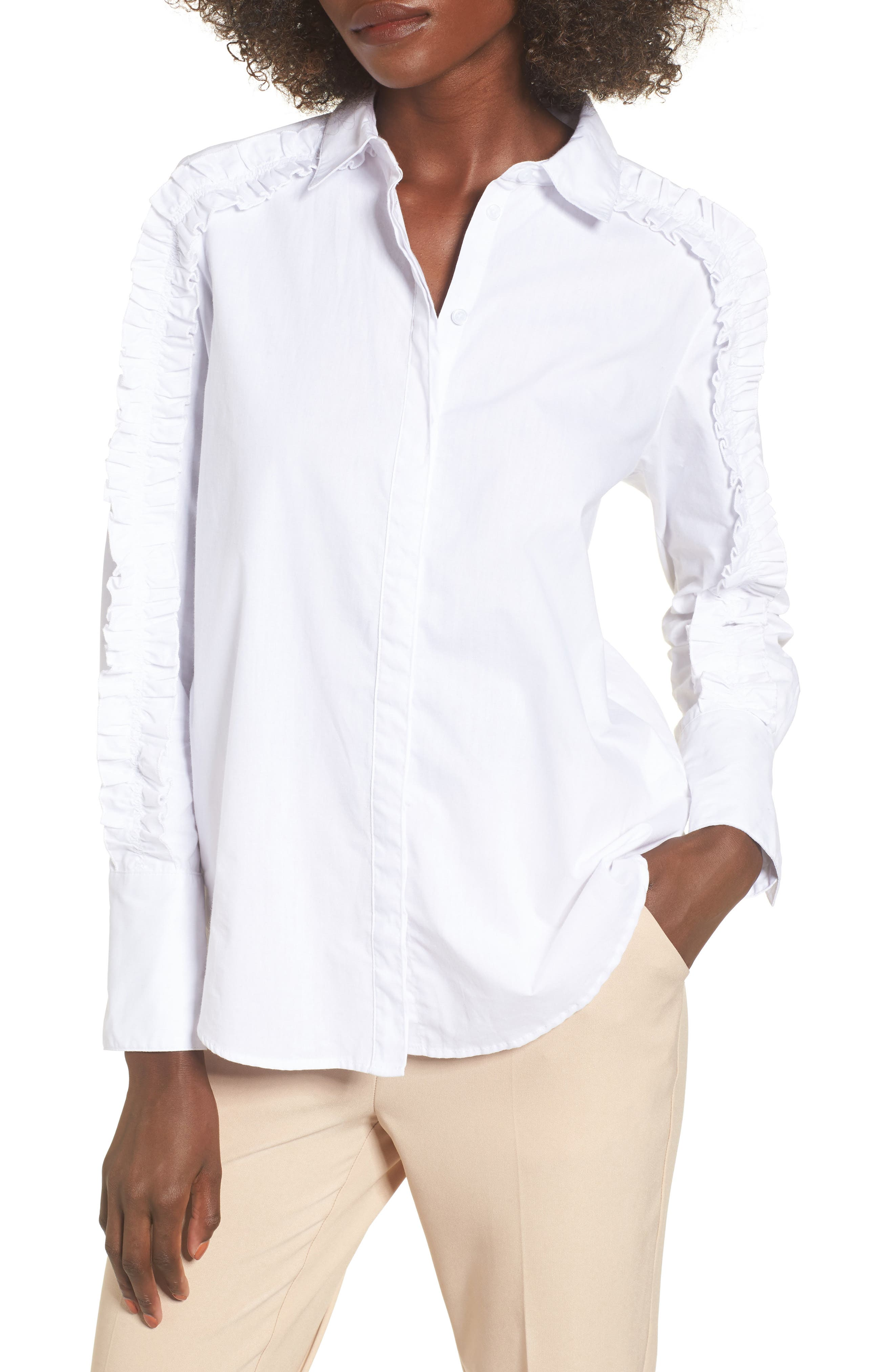 Closer Ruffle Sleeve Button Down Shirt,                         Main,                         color, 100