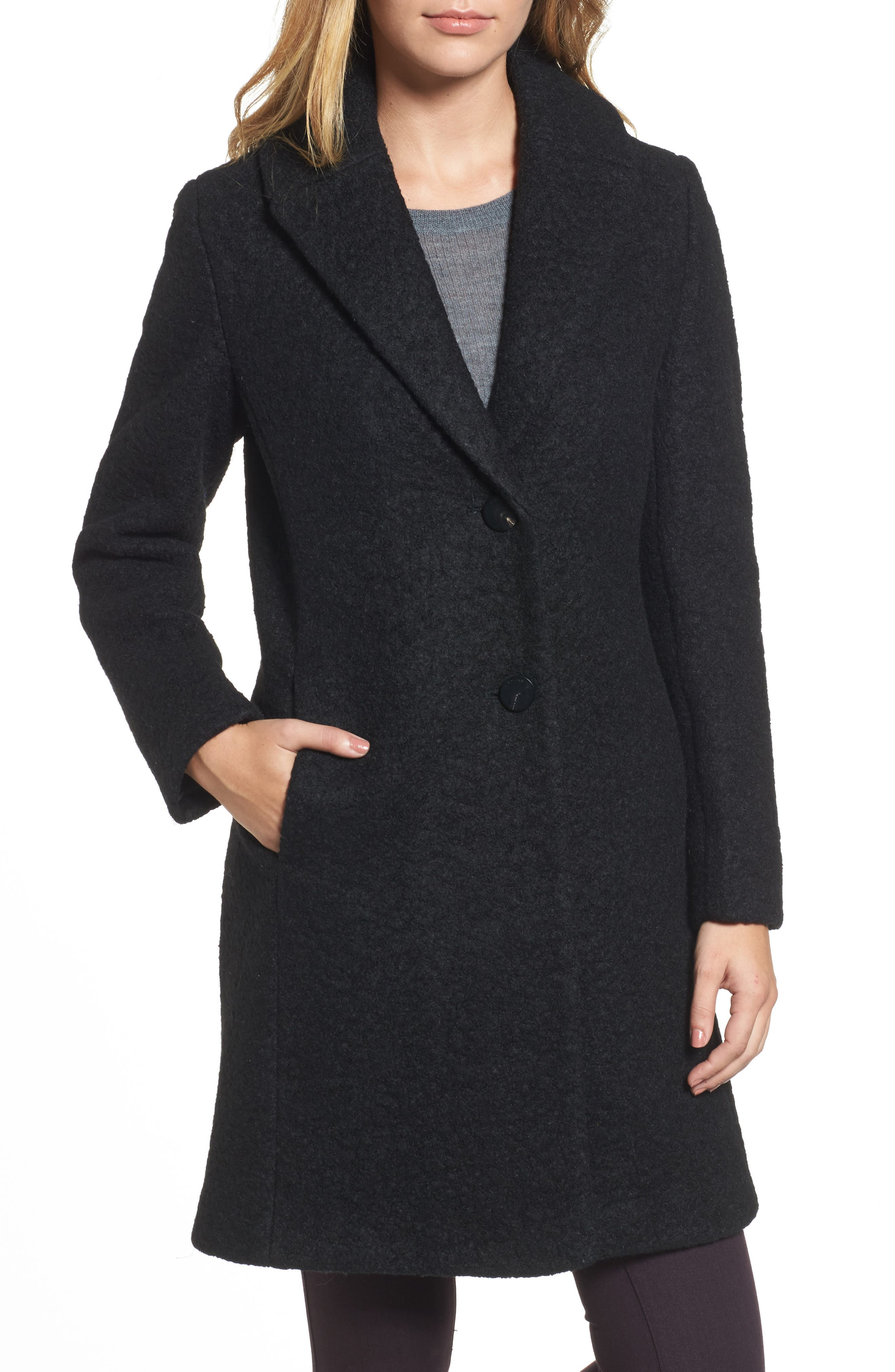 'Tessa' Boiled Wool Blend Coat,                             Alternate thumbnail 4, color,                             001