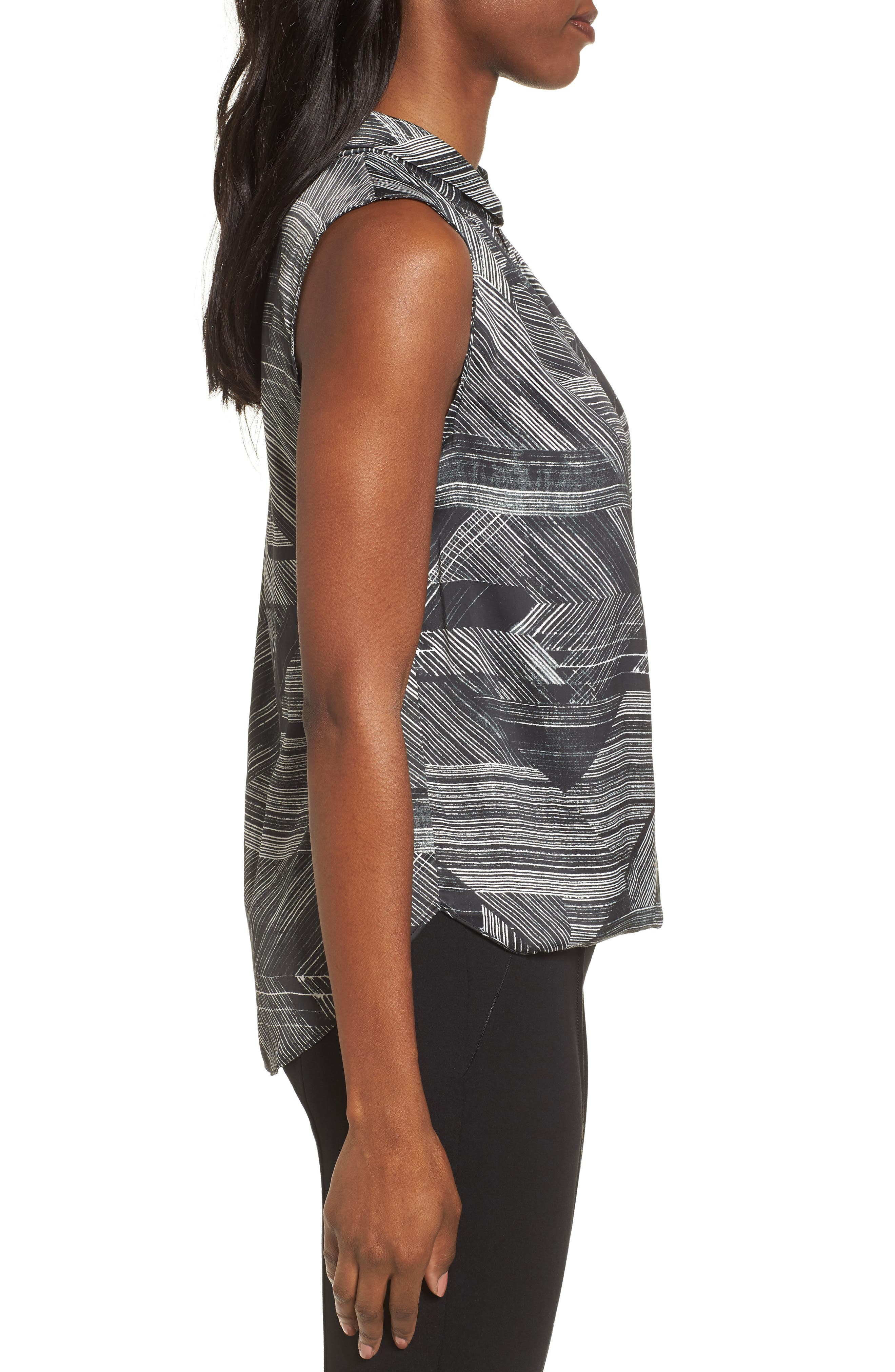 Faux Wrap Stripe Tank Top,                             Alternate thumbnail 3, color,                             004