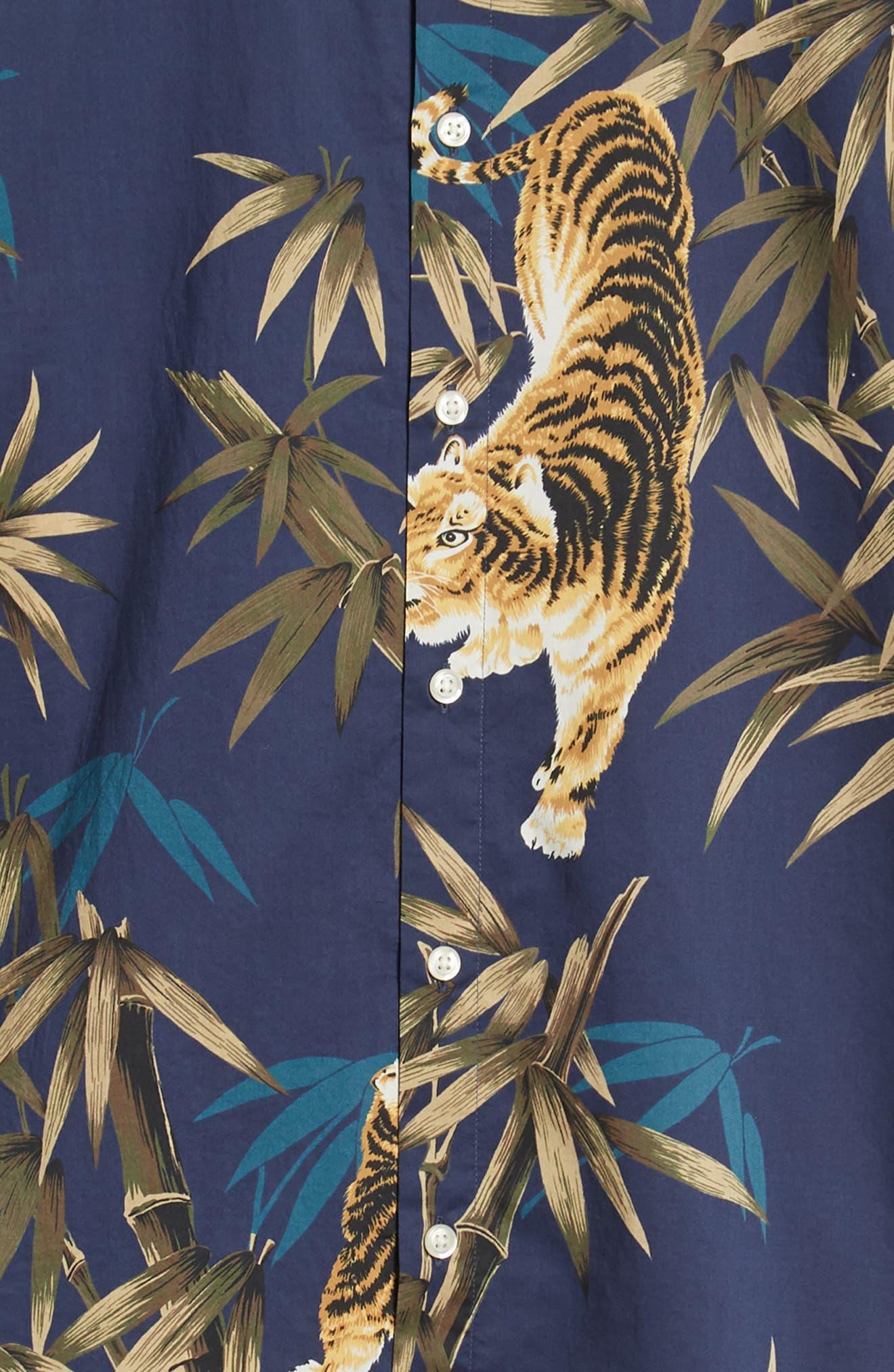 Riviera Slim Fit Tiger Print Sport Shirt,                             Alternate thumbnail 6, color,                             BAMBOO TIGER - VERDE