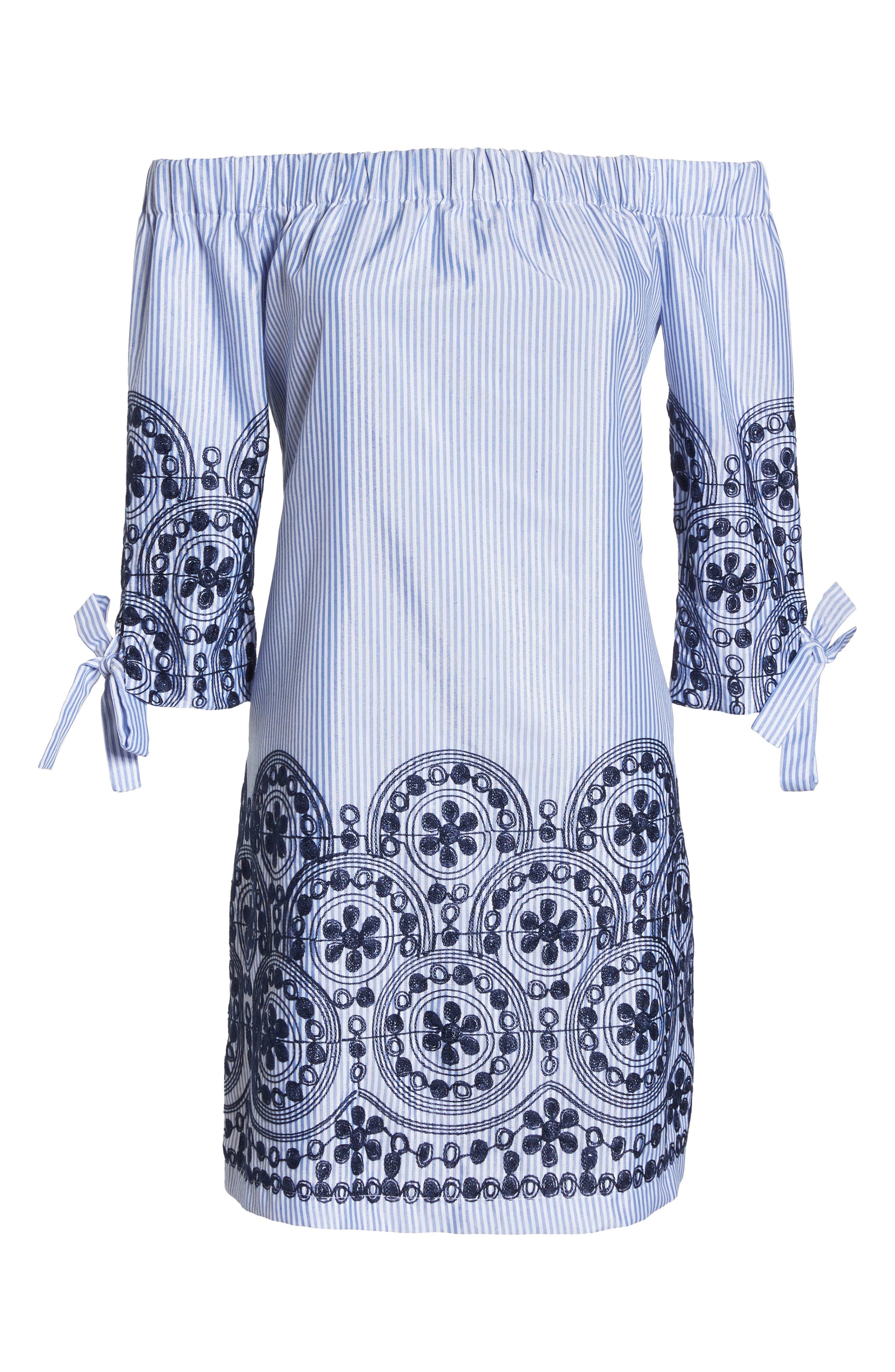 Off the Shoulder Stripe Embroidered Shift Dress,                             Alternate thumbnail 7, color,                             470