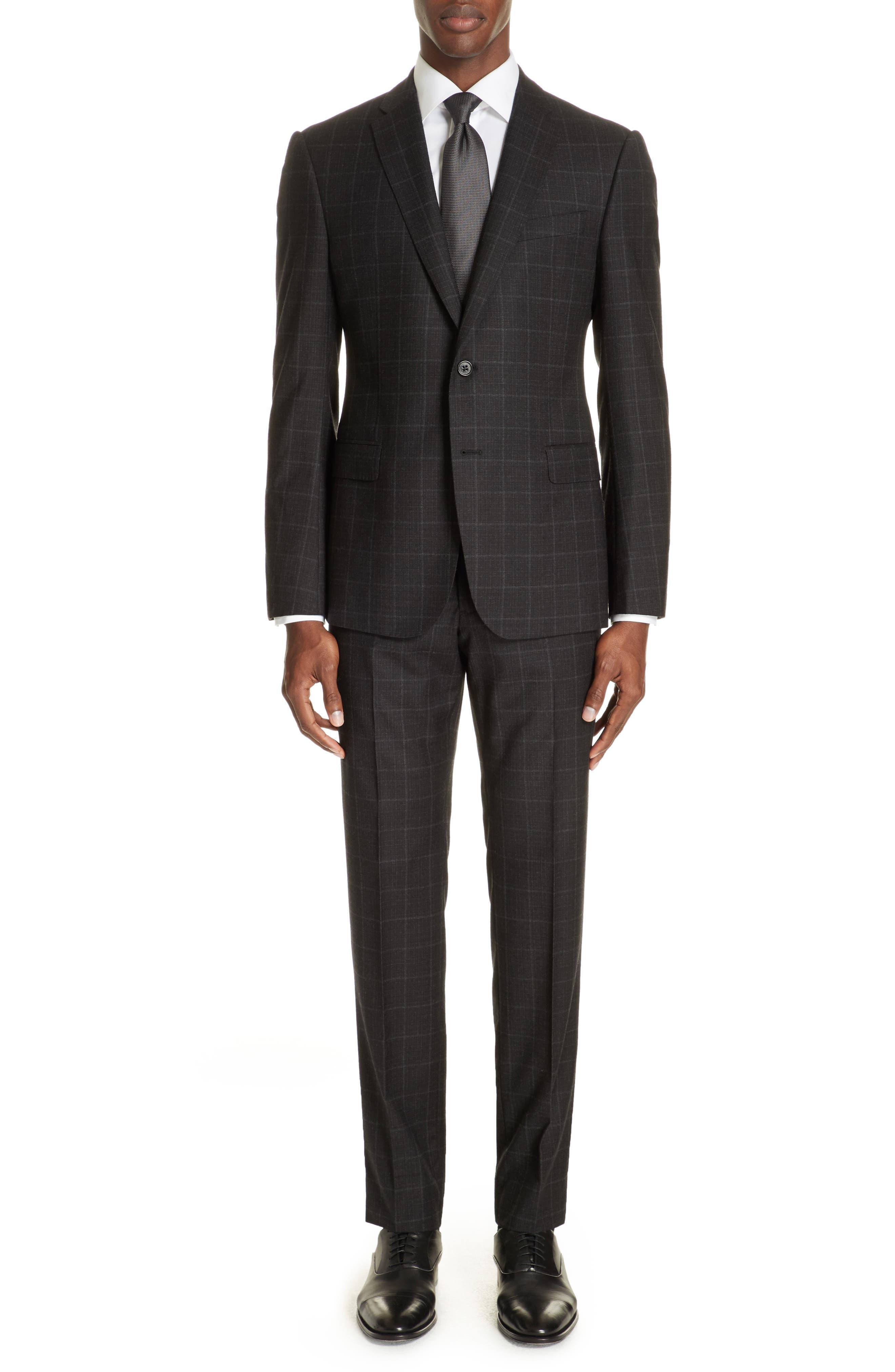 Men'S Windowpane Wool Two-Piece Suit in Charcoal