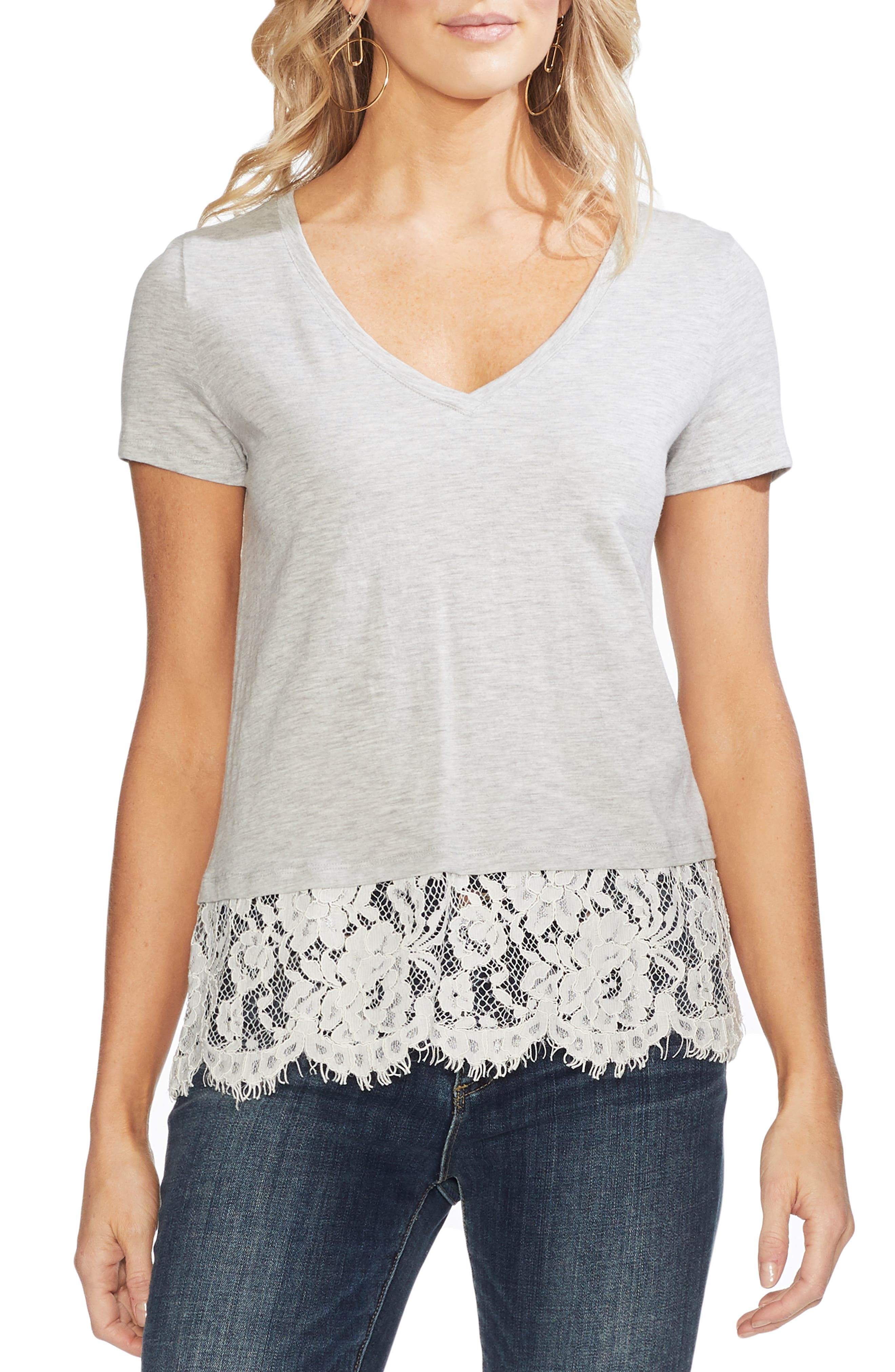 Vince Camuto Tops LACE BORDER V-NECK TEE