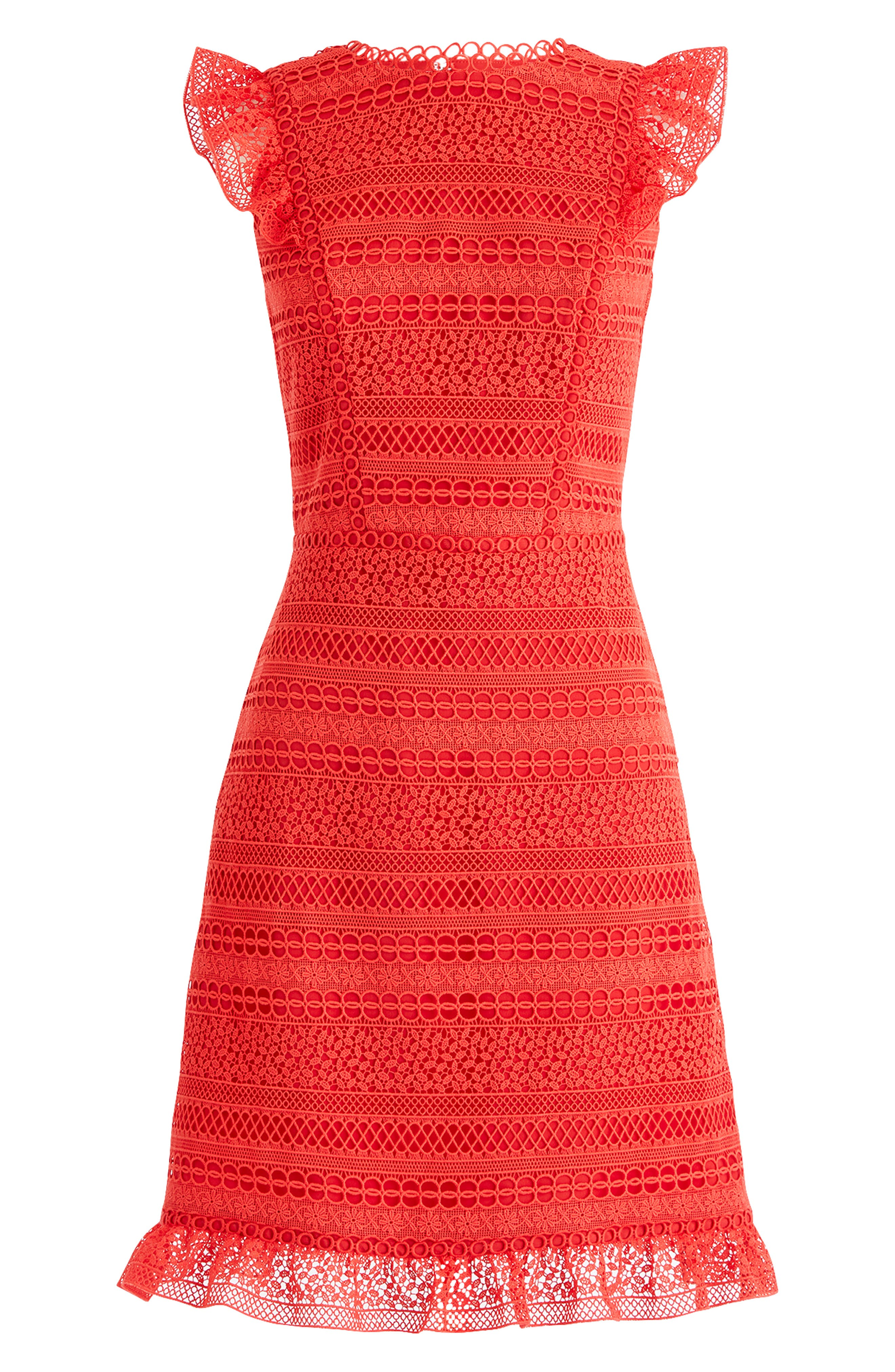Cap Sleeve Ruffle Lace Dress,                             Alternate thumbnail 6, color,                             BRIGHT CERISE