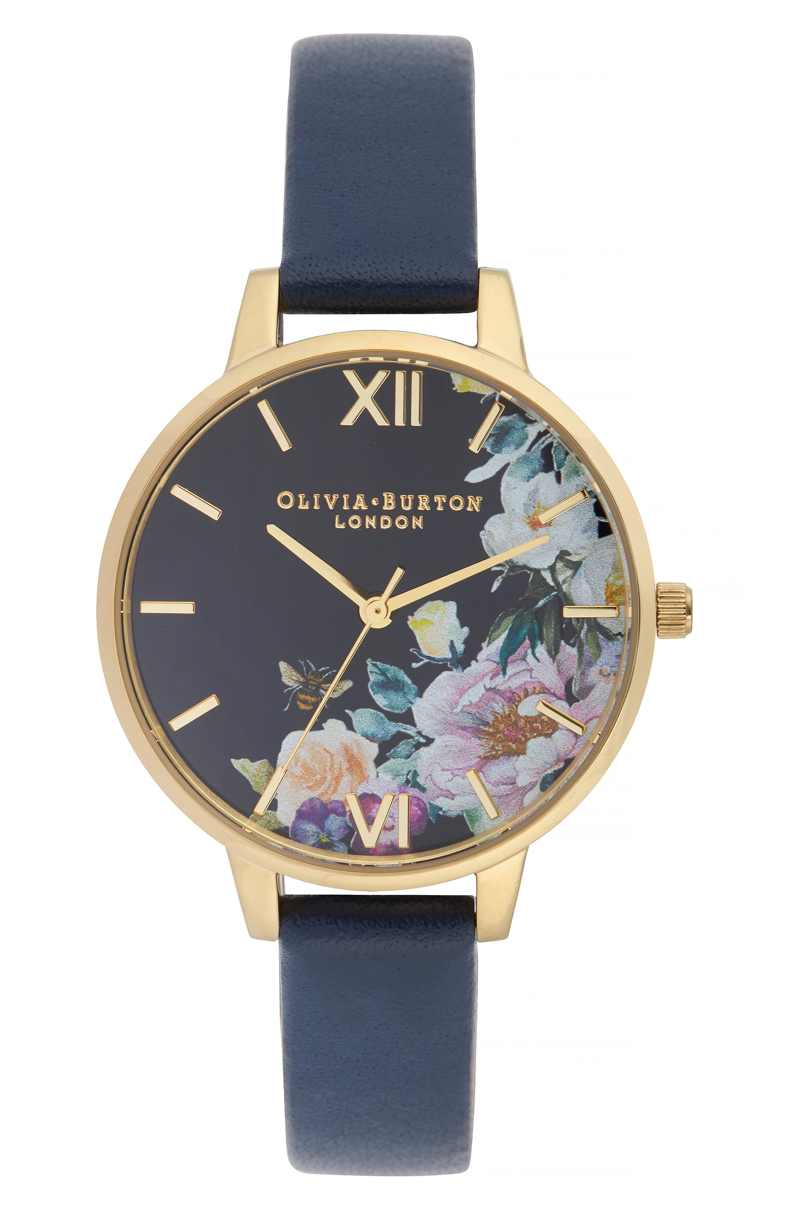 OLIVIA BURTON Enchanted Garden Leather Strap Watch, 34Mm in Navy/ Floral/ Gold