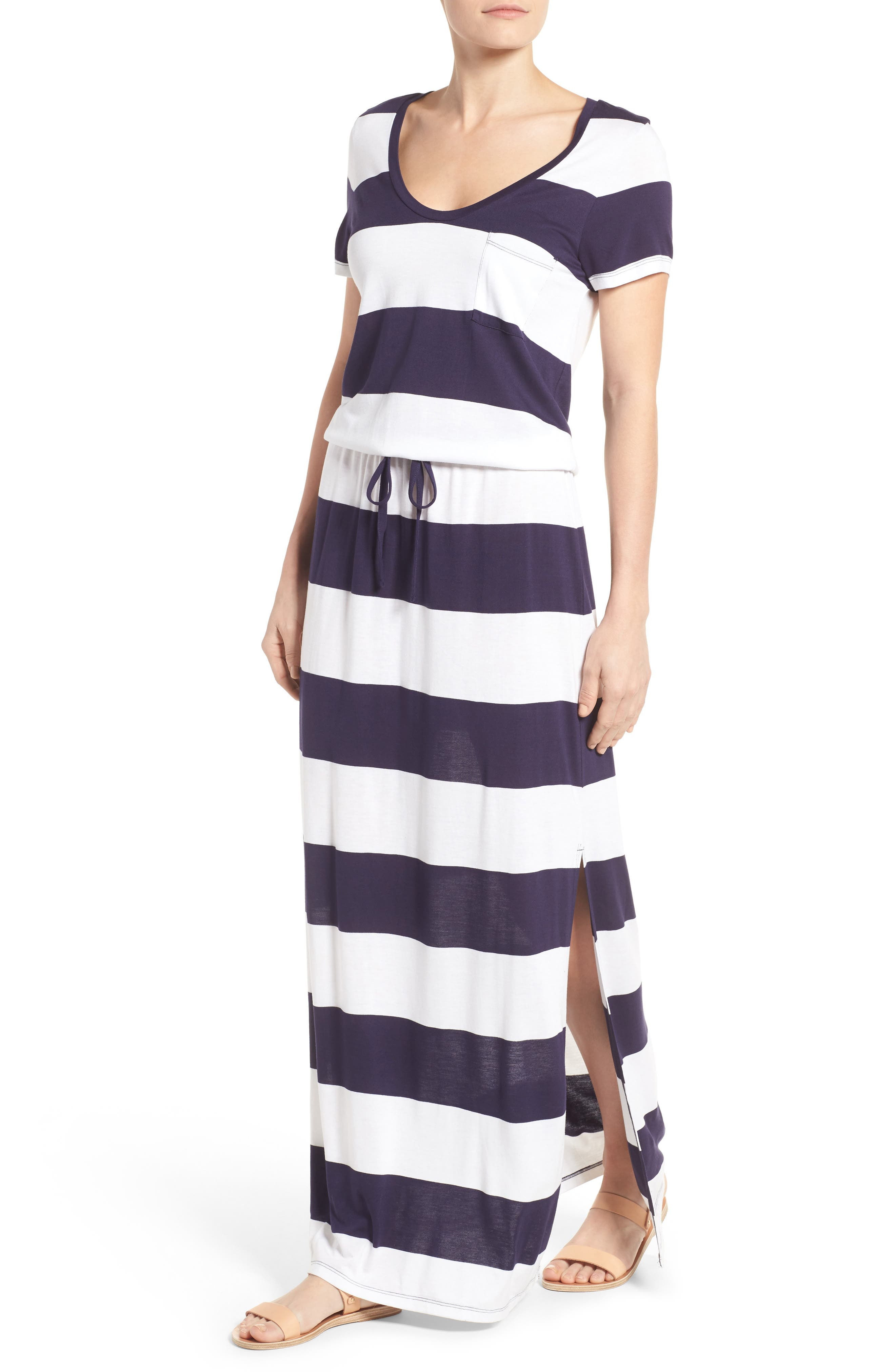 Drawstring V-Neck Jersey Maxi Dress,                             Alternate thumbnail 39, color,