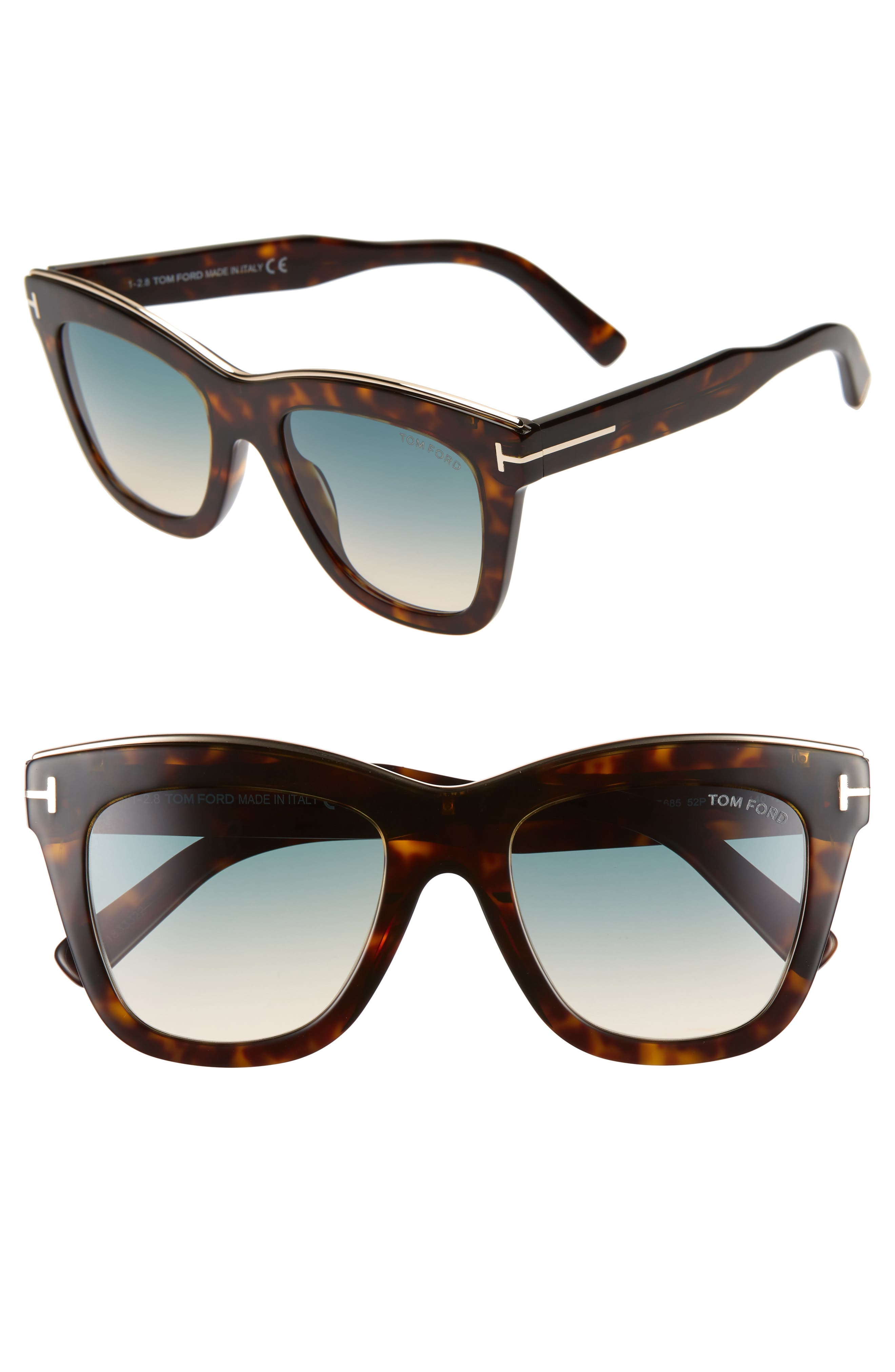 Tom Ford Julie 52Mm Sunglasses - Dark Havana/ Turq To Sand
