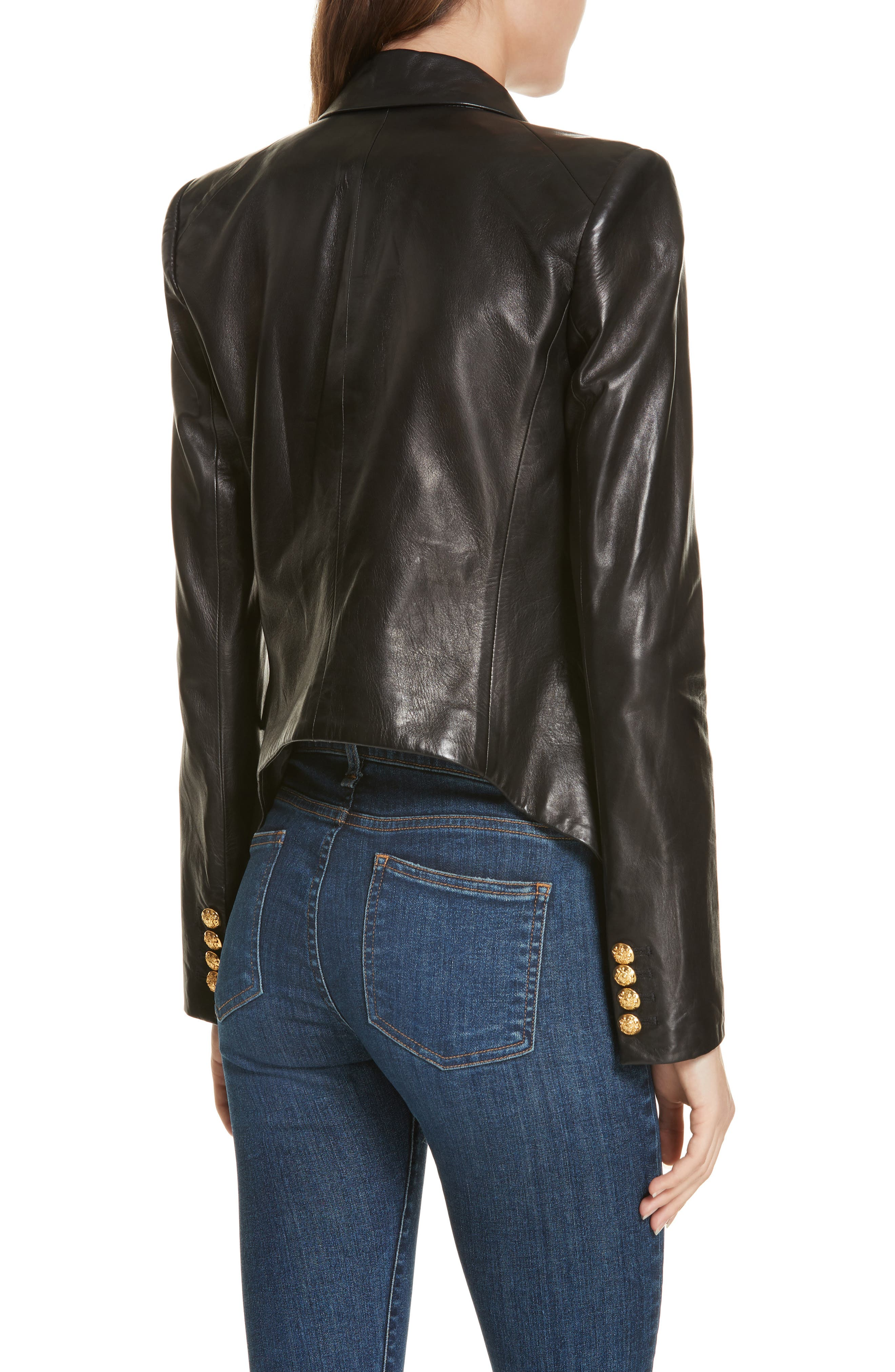 Cooke Leather Dickey Jacket,                             Alternate thumbnail 2, color,                             BLACK