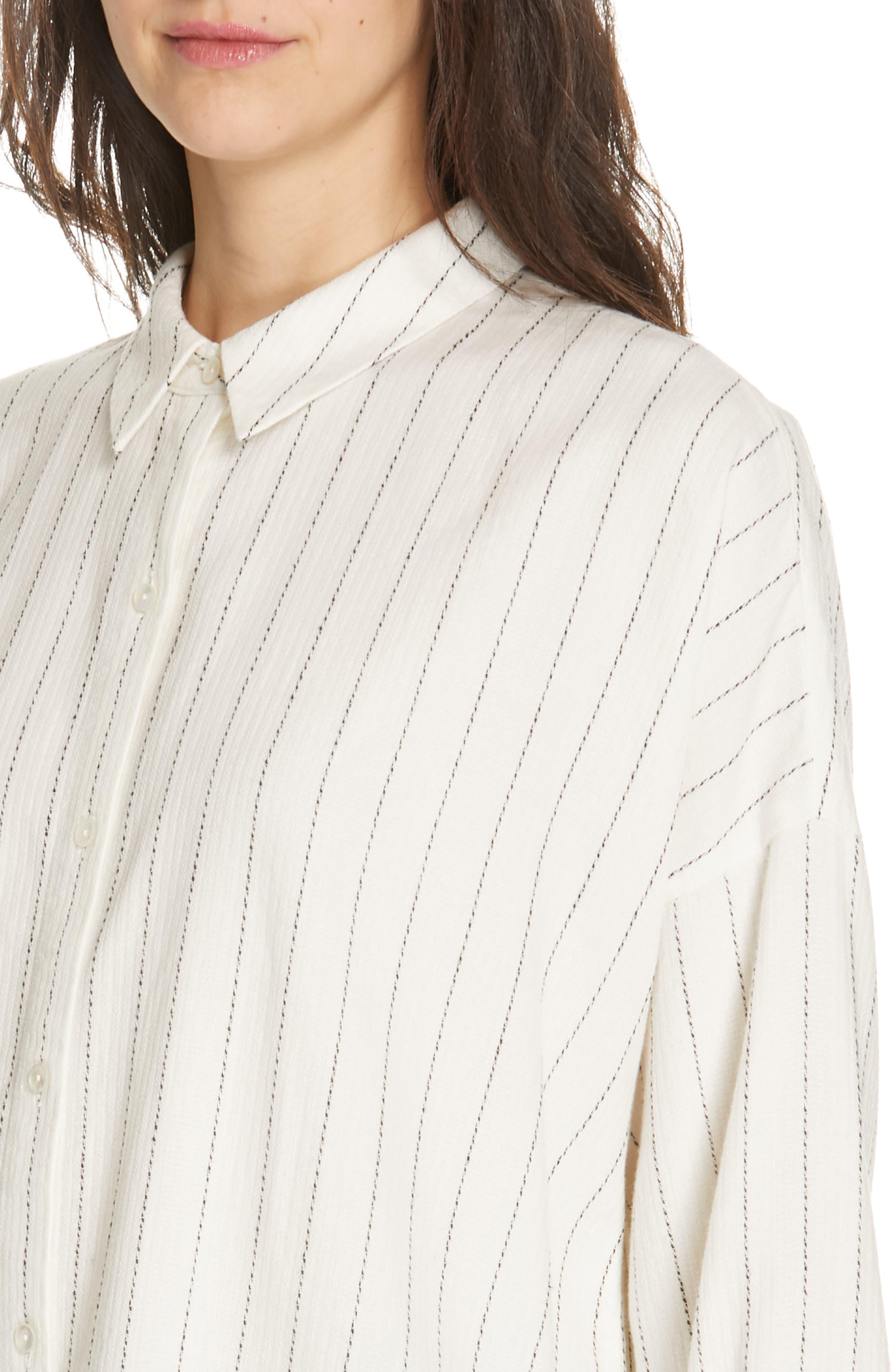 Boxy Stripe Shirt,                             Alternate thumbnail 4, color,                             ECRU
