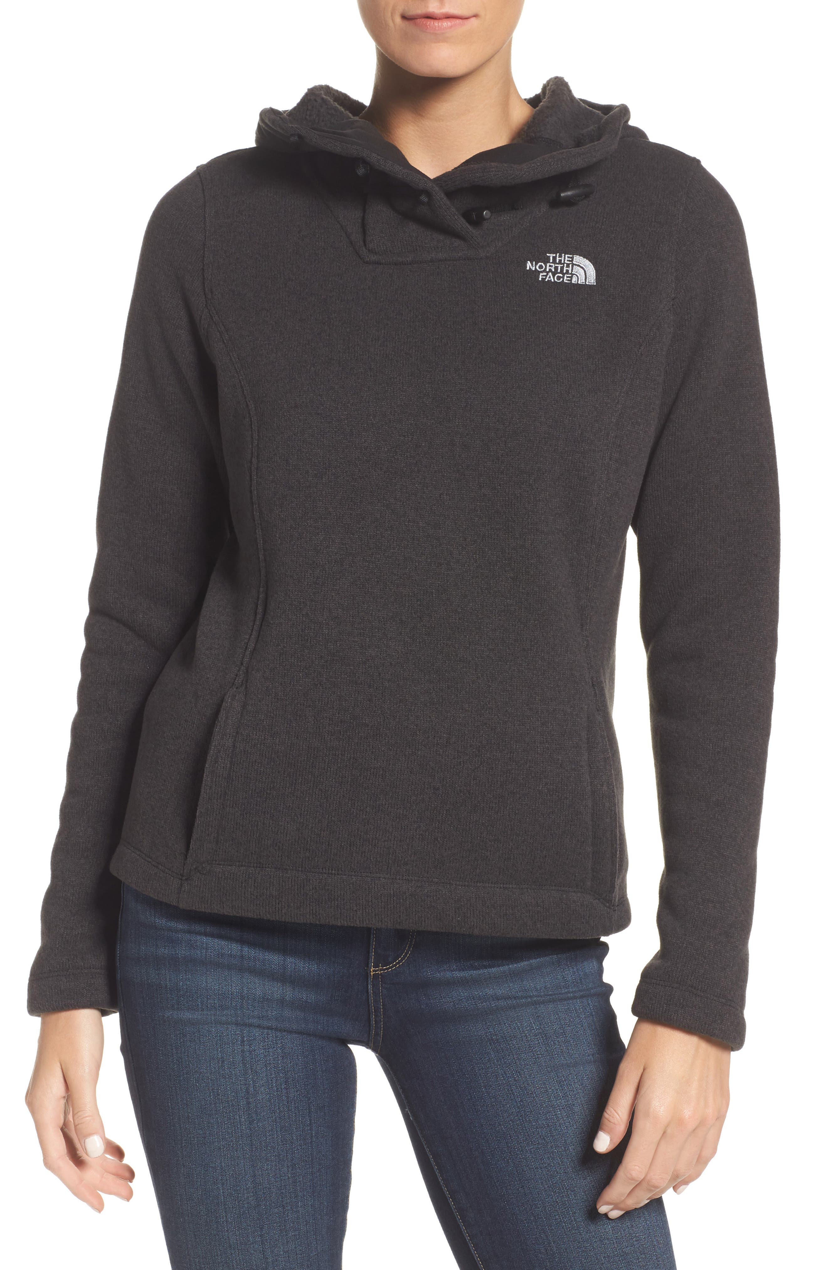 Crescent Hooded Pullover,                             Main thumbnail 1, color,                             TNF BLACK HEATHER