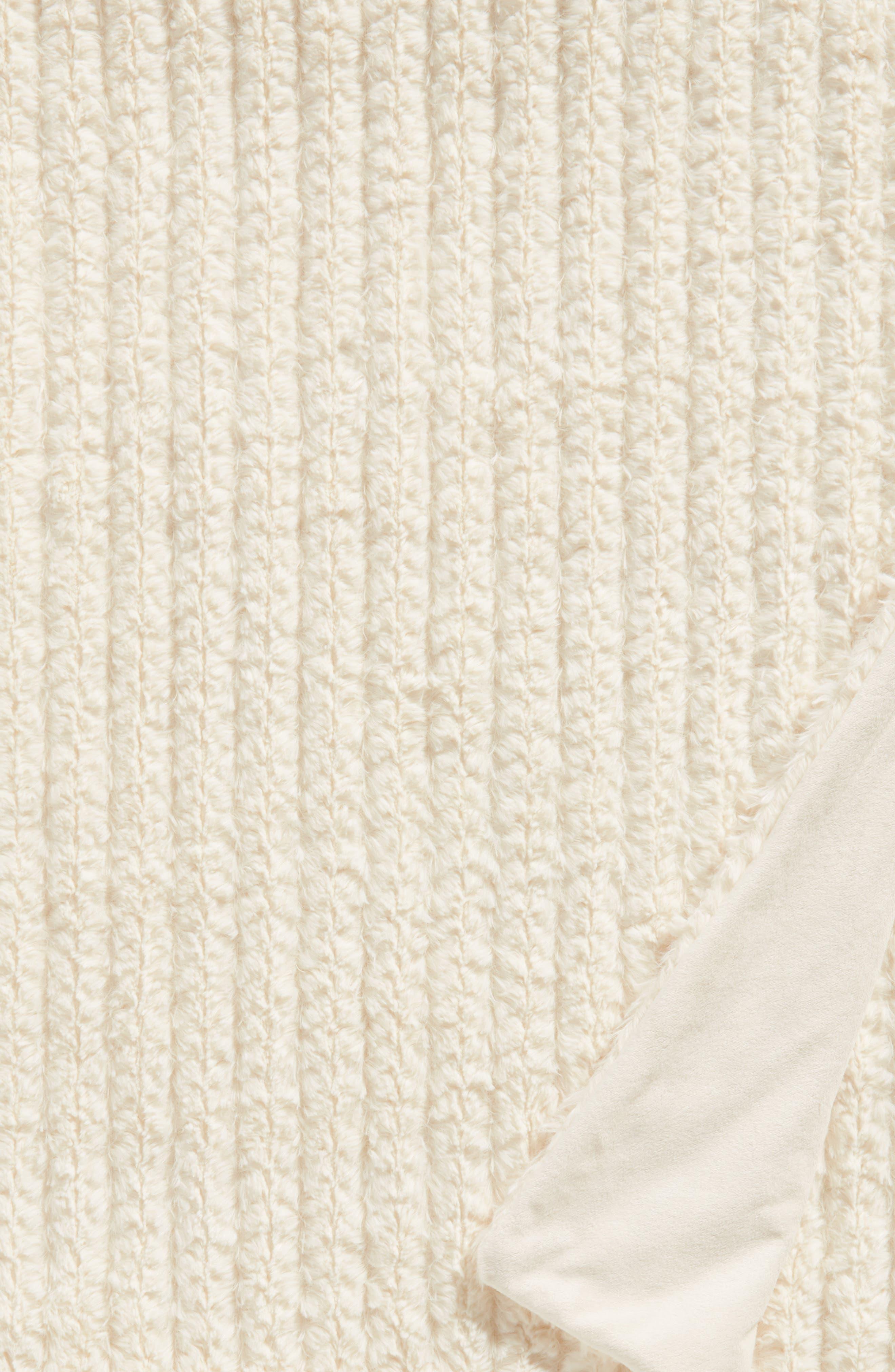 Nordstrom Cozy Plush Faux Fur Blanket,                             Alternate thumbnail 2, color,                             IVORY SOLID