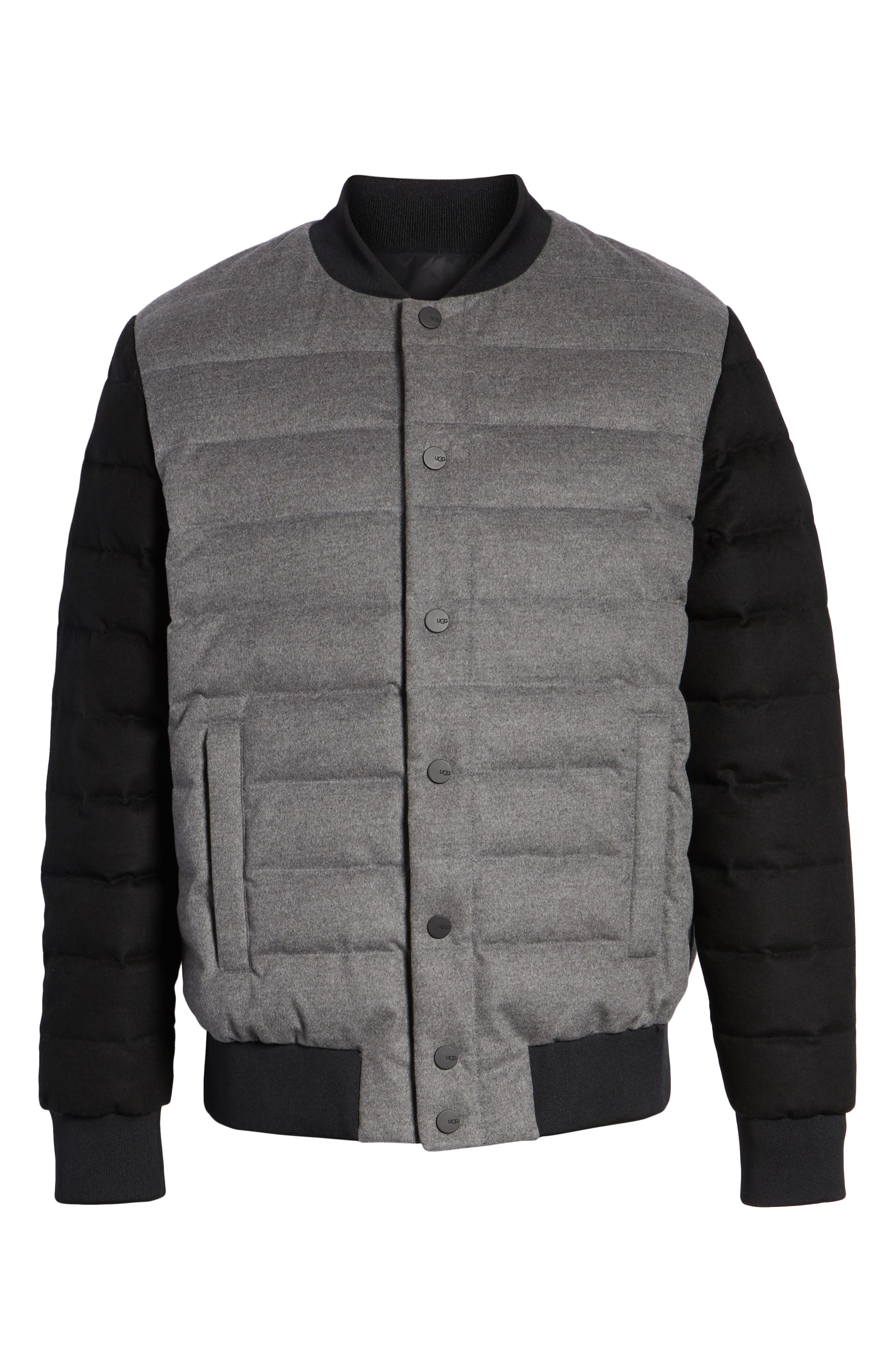 Gavin Down Bomber Jacket,                             Alternate thumbnail 5, color,                             MEDIUM HEATHER GREY/ BLACK