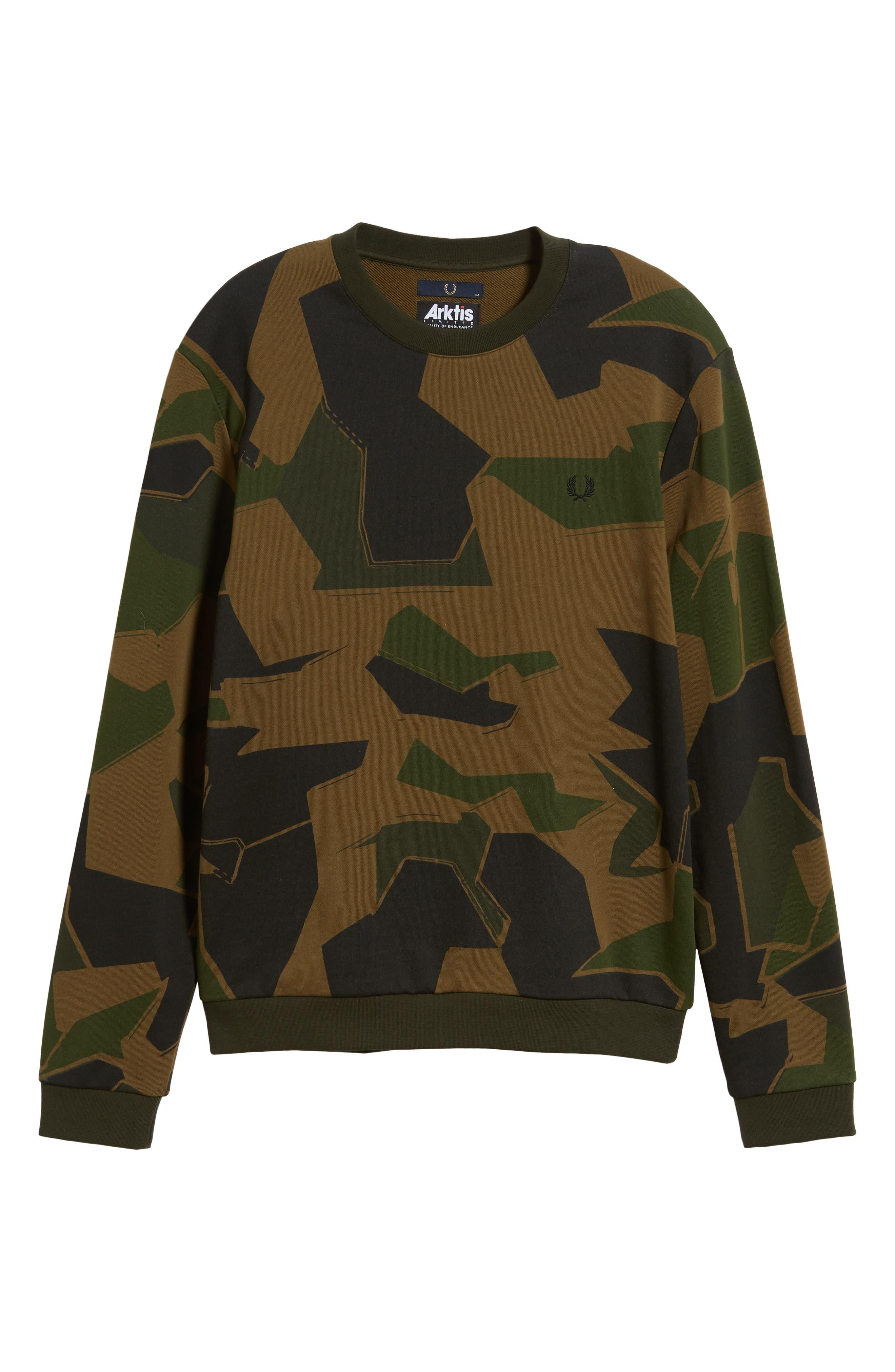 Camoflage Sweatshirt,                             Alternate thumbnail 6, color,                             WOODLAND CAMO