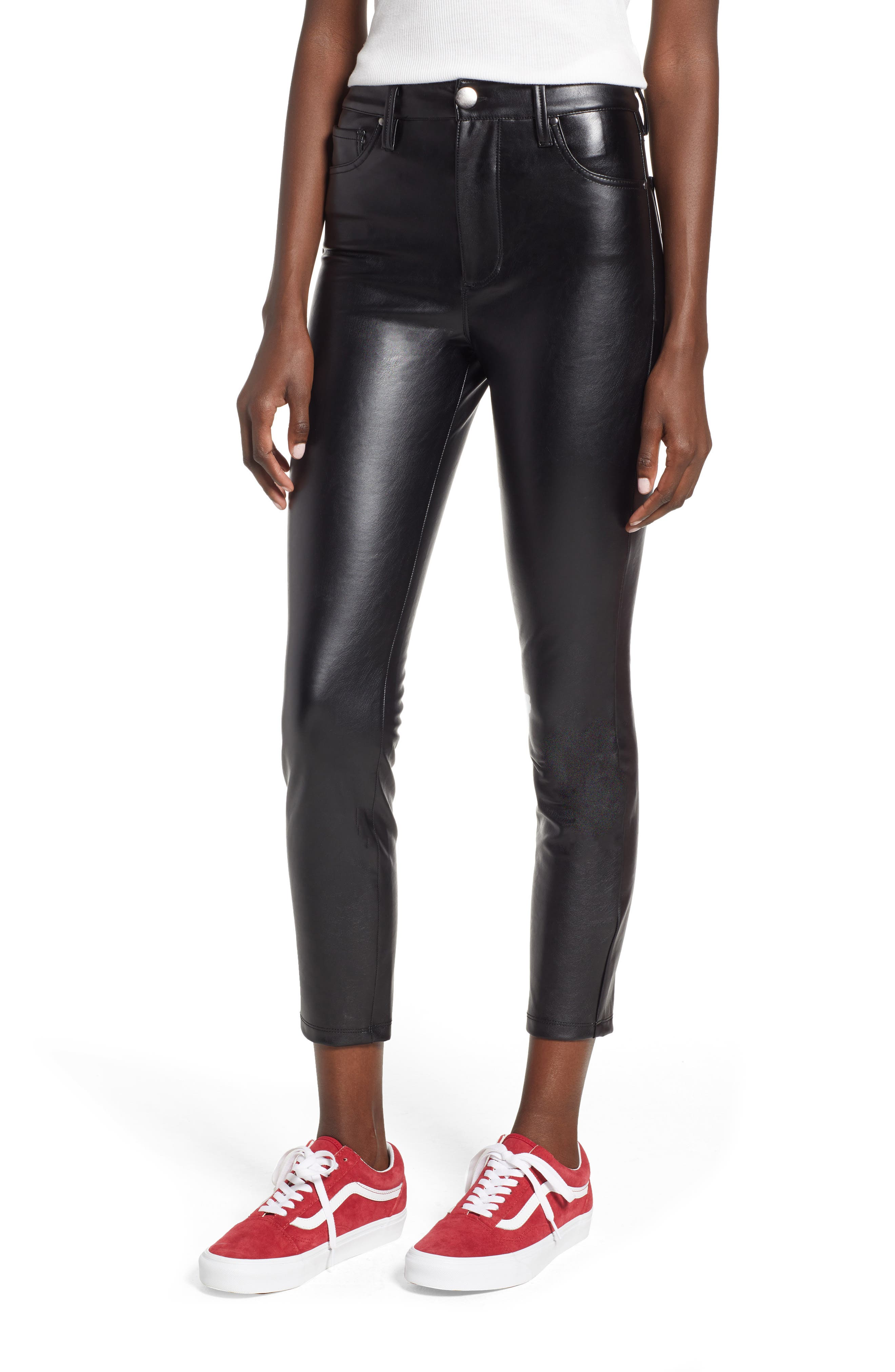 High Waist Faux Leather Skinny Pants, Main, color, BLACK