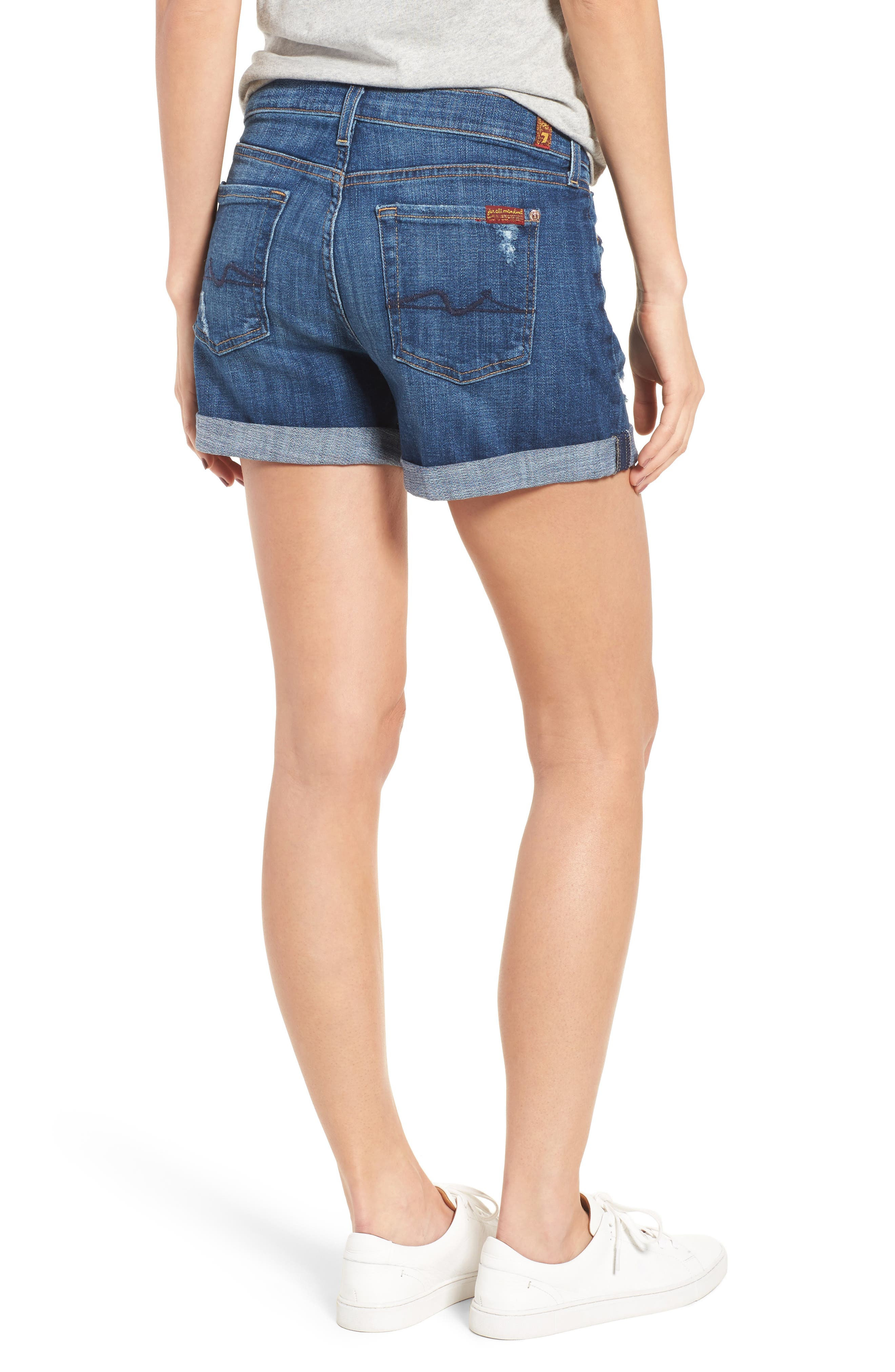 Relaxed Cuffed Denim Shorts,                             Alternate thumbnail 2, color,                             400