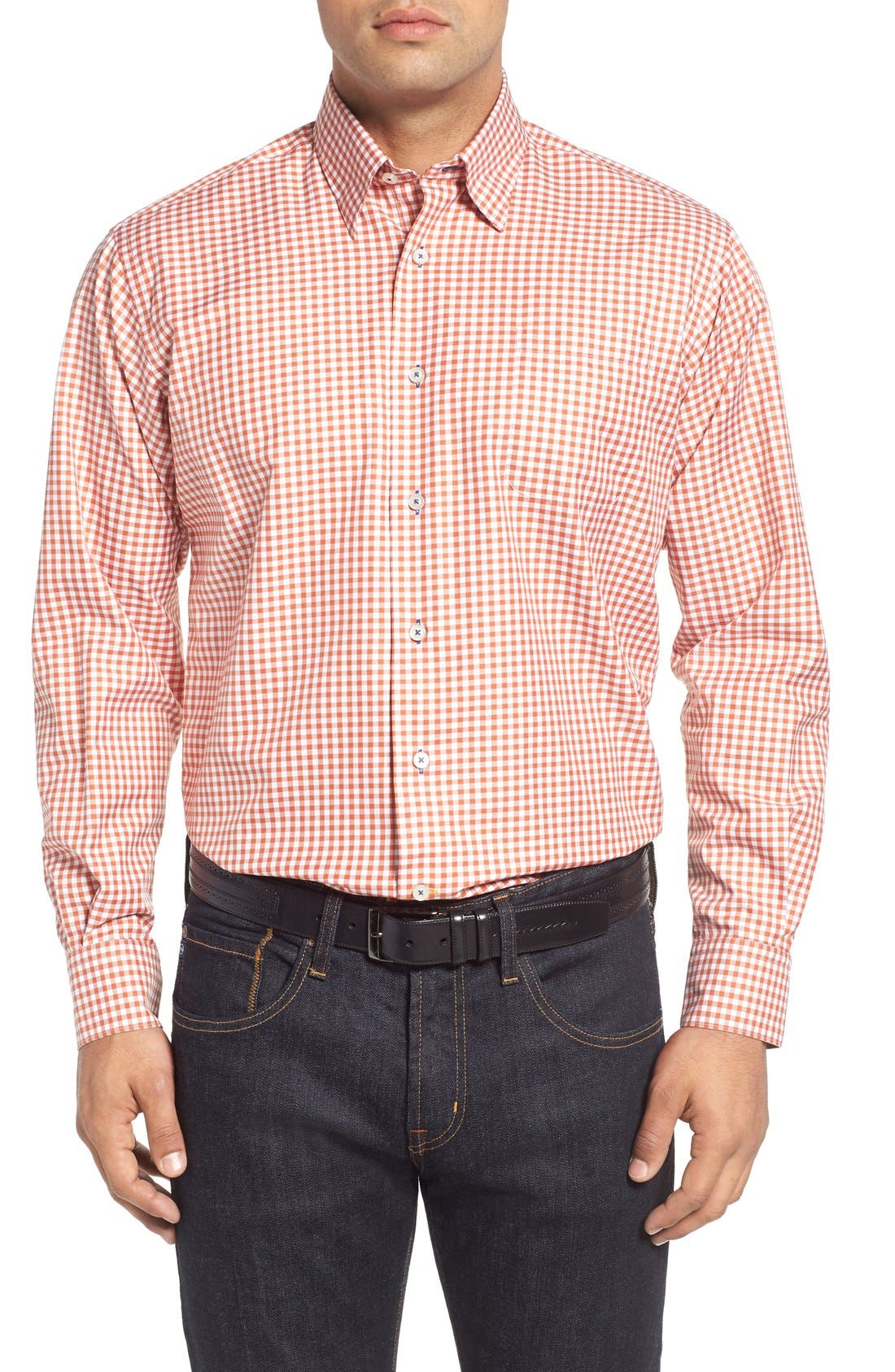 'Anderson' Classic Fit Gingham Sport Shirt,                         Main,                         color, EMBER