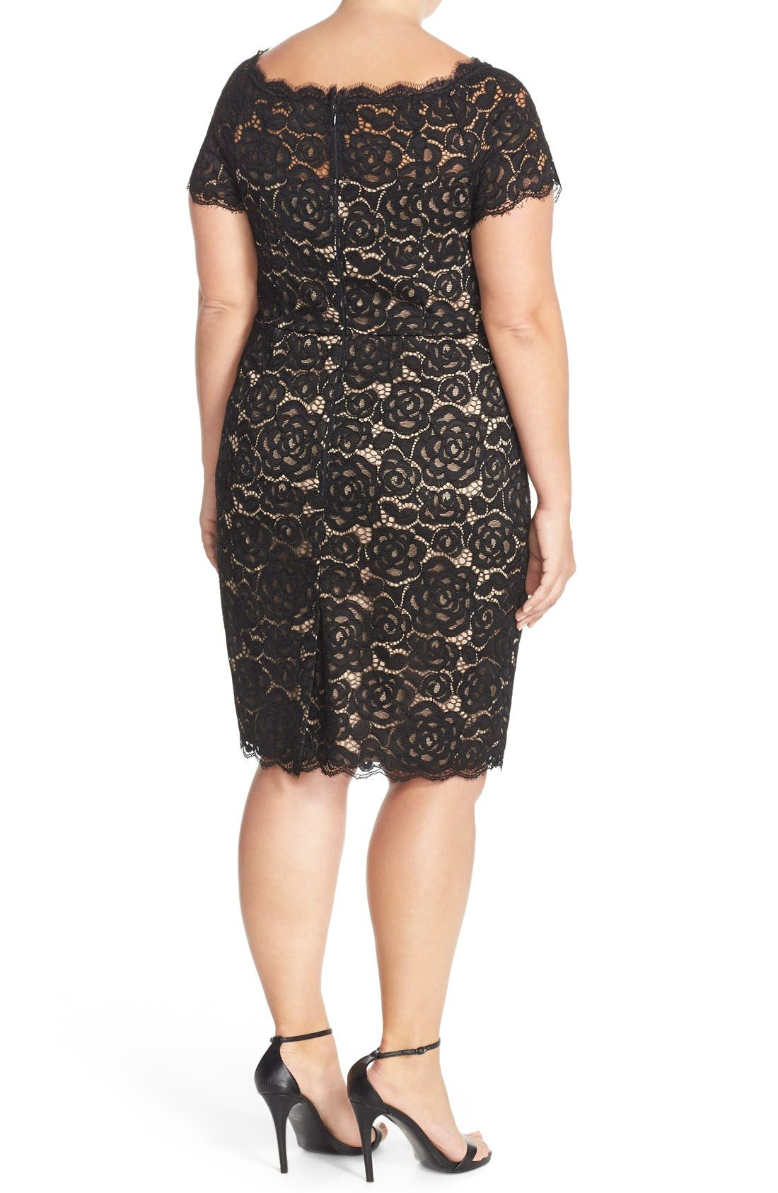 Off the Shoulder Lace Sheath Dress,                             Alternate thumbnail 4, color,                             BLACK/ NUDE