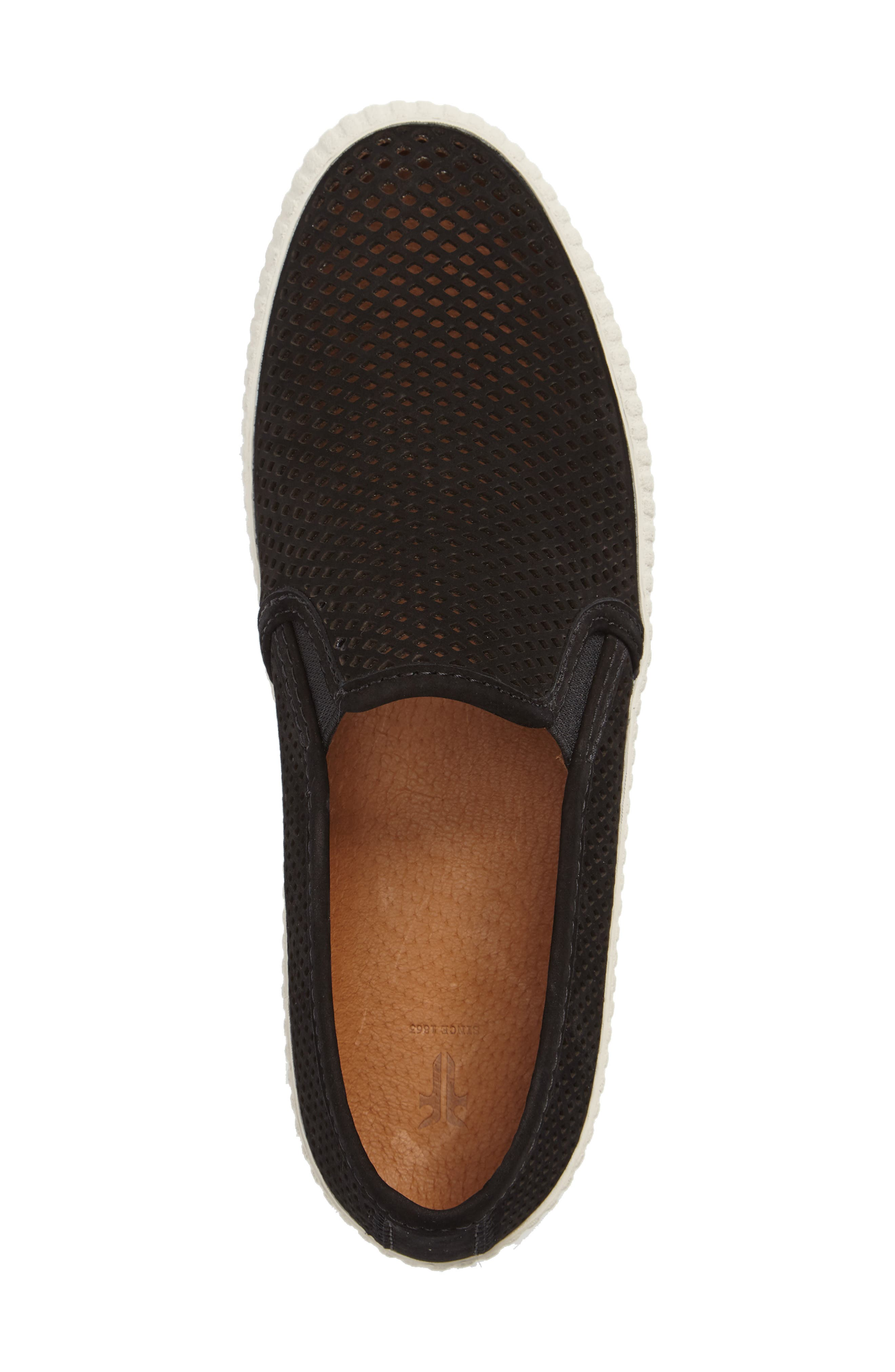 Camille Perforated Slip-On Sneaker,                             Alternate thumbnail 3, color,                             001