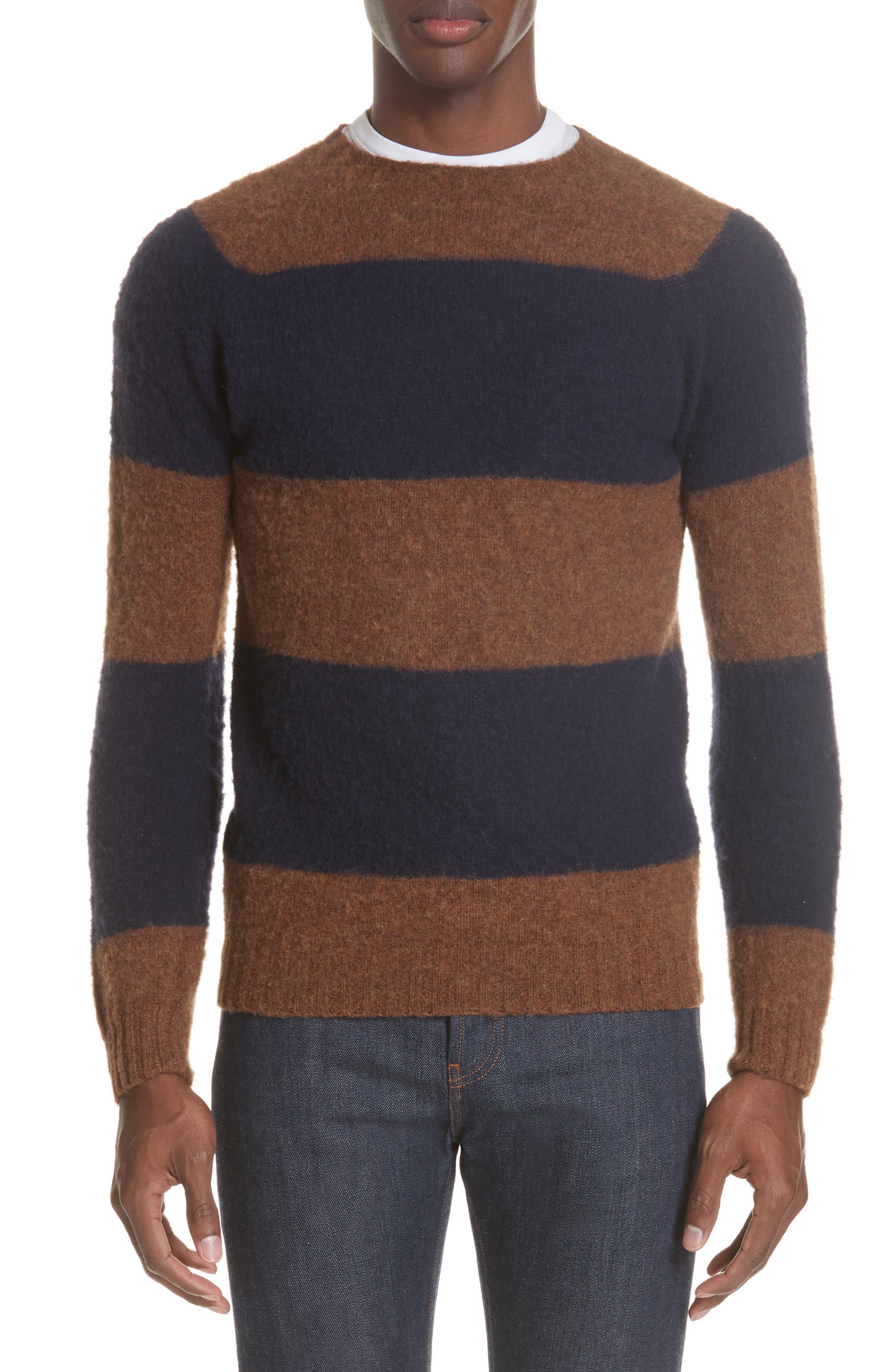 Officine Générale Stripe Wool Crew Sweater,                         Main,                         color, 411