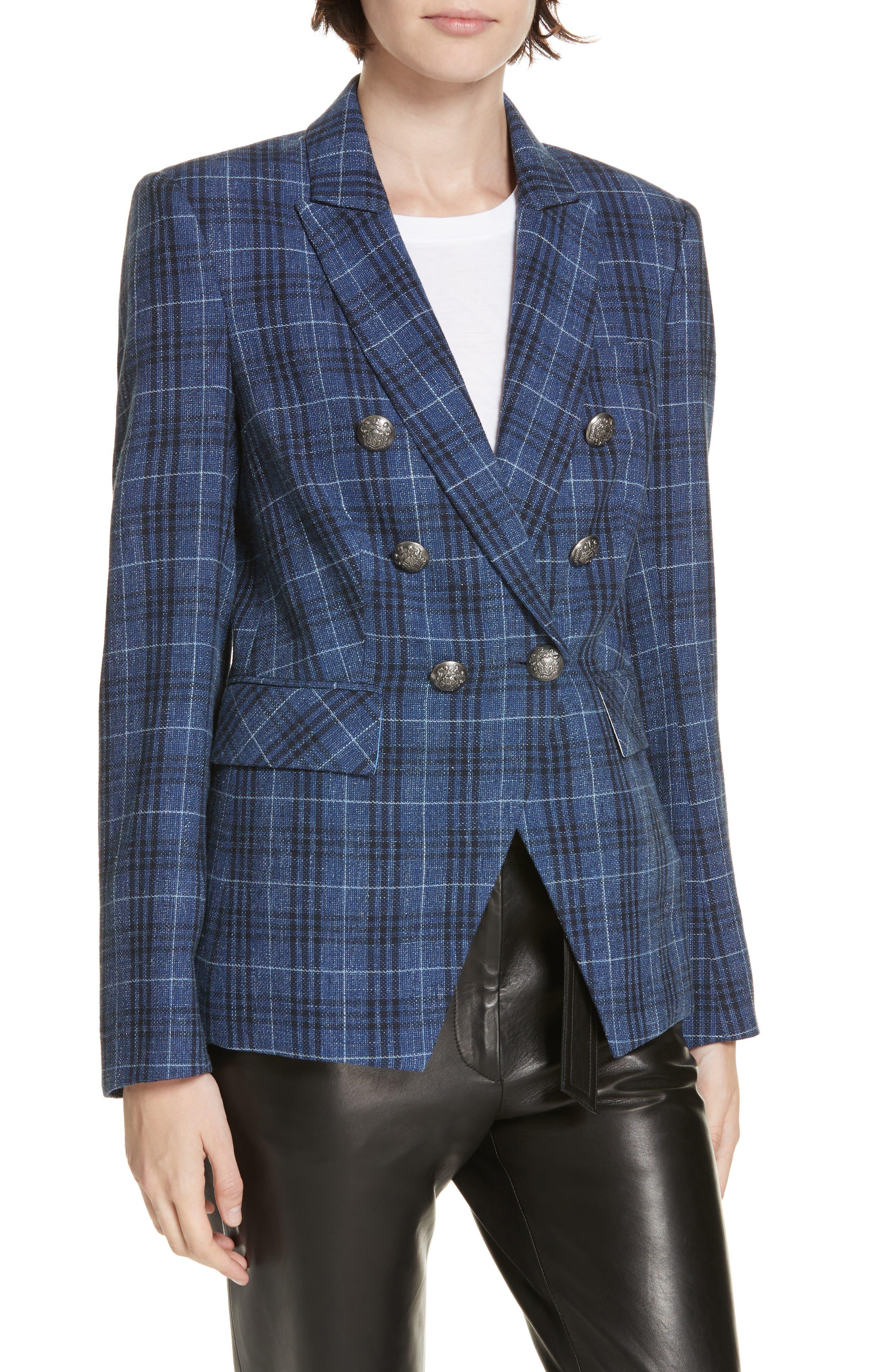 VERONICA BEARD,                             Miller Wool Blend Plaid Dickey Jacket,                             Alternate thumbnail 2, color,                             BLUE