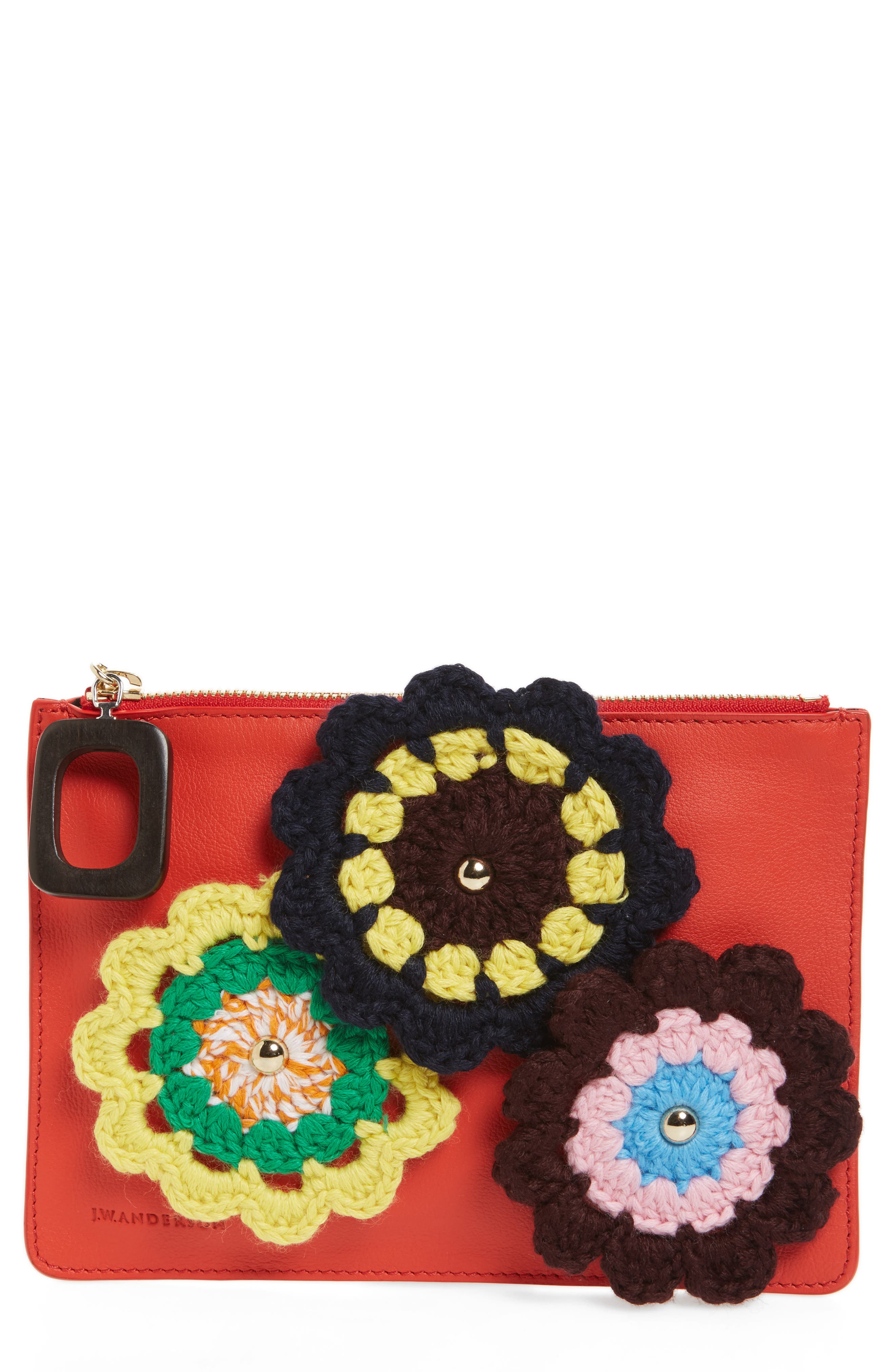 J.W.ANDERSON Daisies Calfskin Leather Pouch,                         Main,                         color, 600