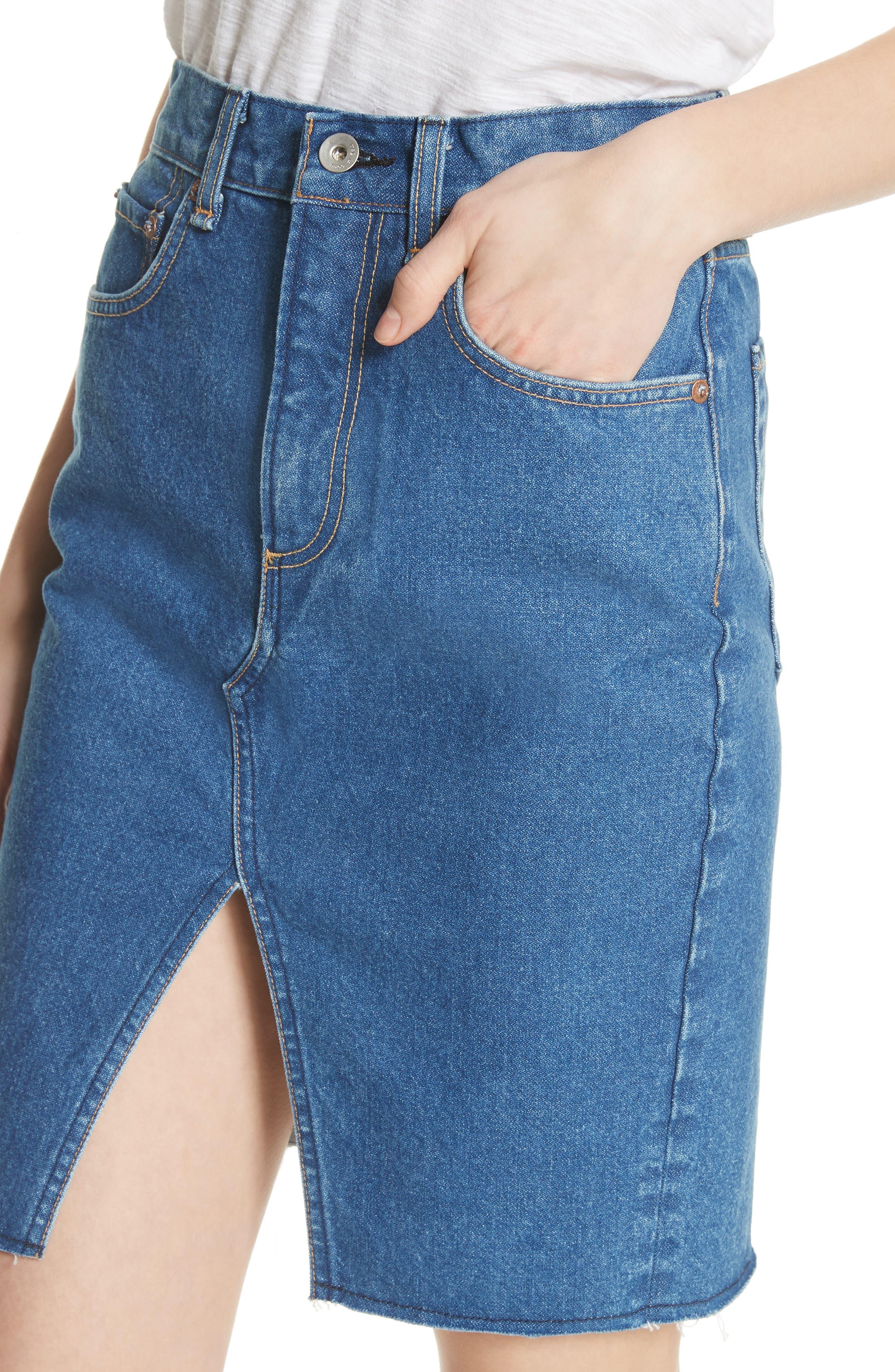 Suji Denim Skirt,                             Alternate thumbnail 4, color,                             401