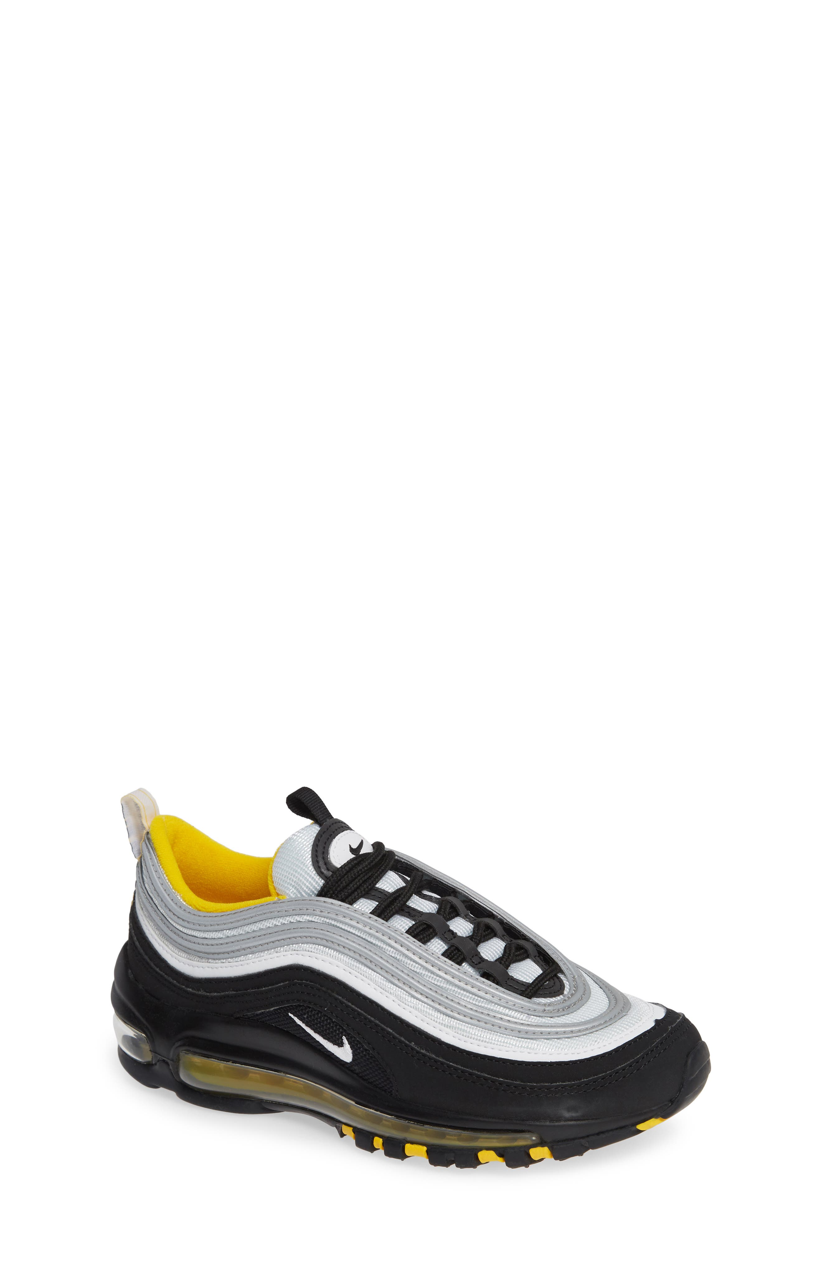 Air Max 97 Sneaker,                             Main thumbnail 1, color,                             BLACK/ WHITE/ AMARILLO