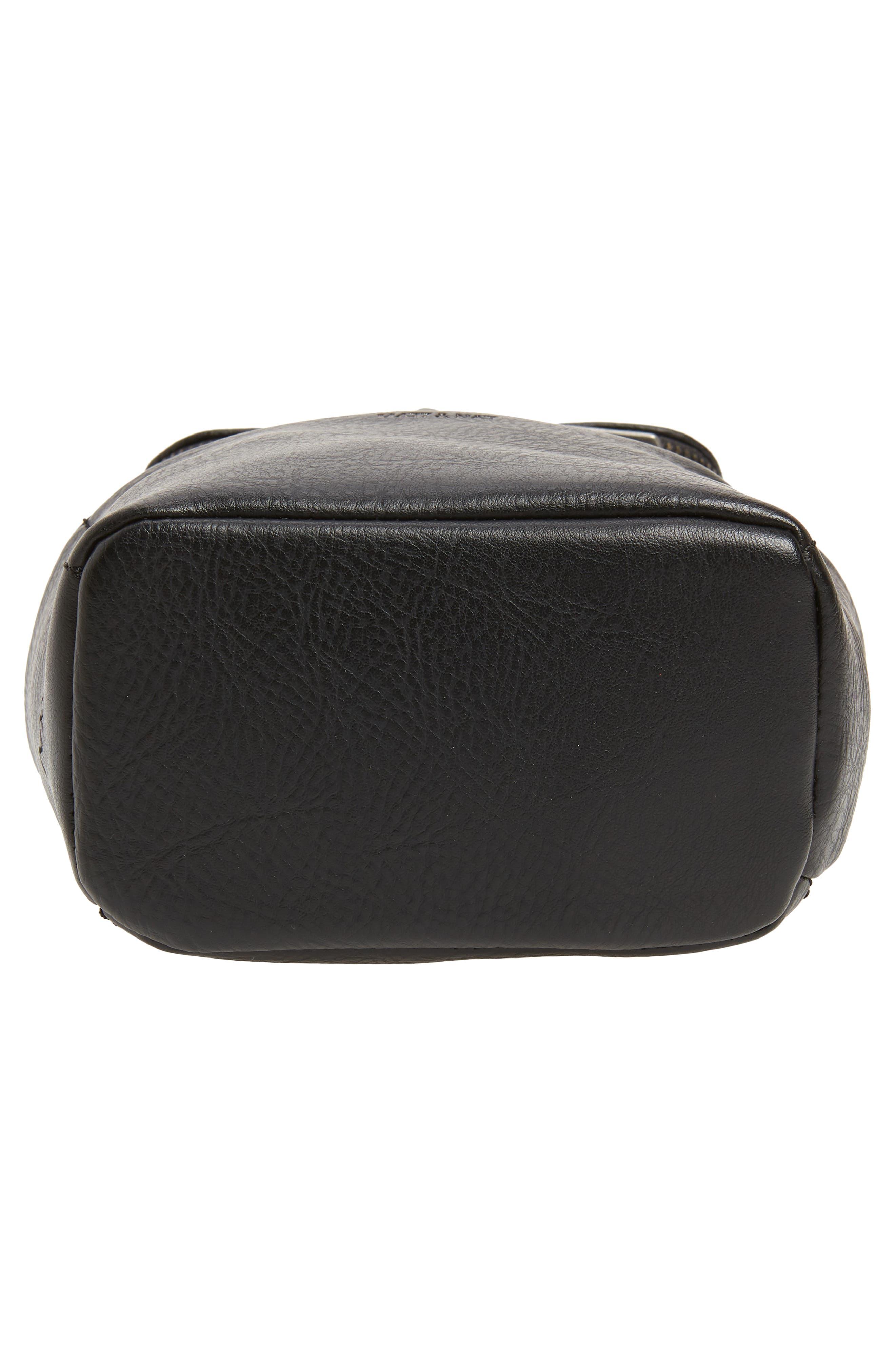 Mini Brave Faux Leather Backpack,                             Alternate thumbnail 6, color,                             BLACK
