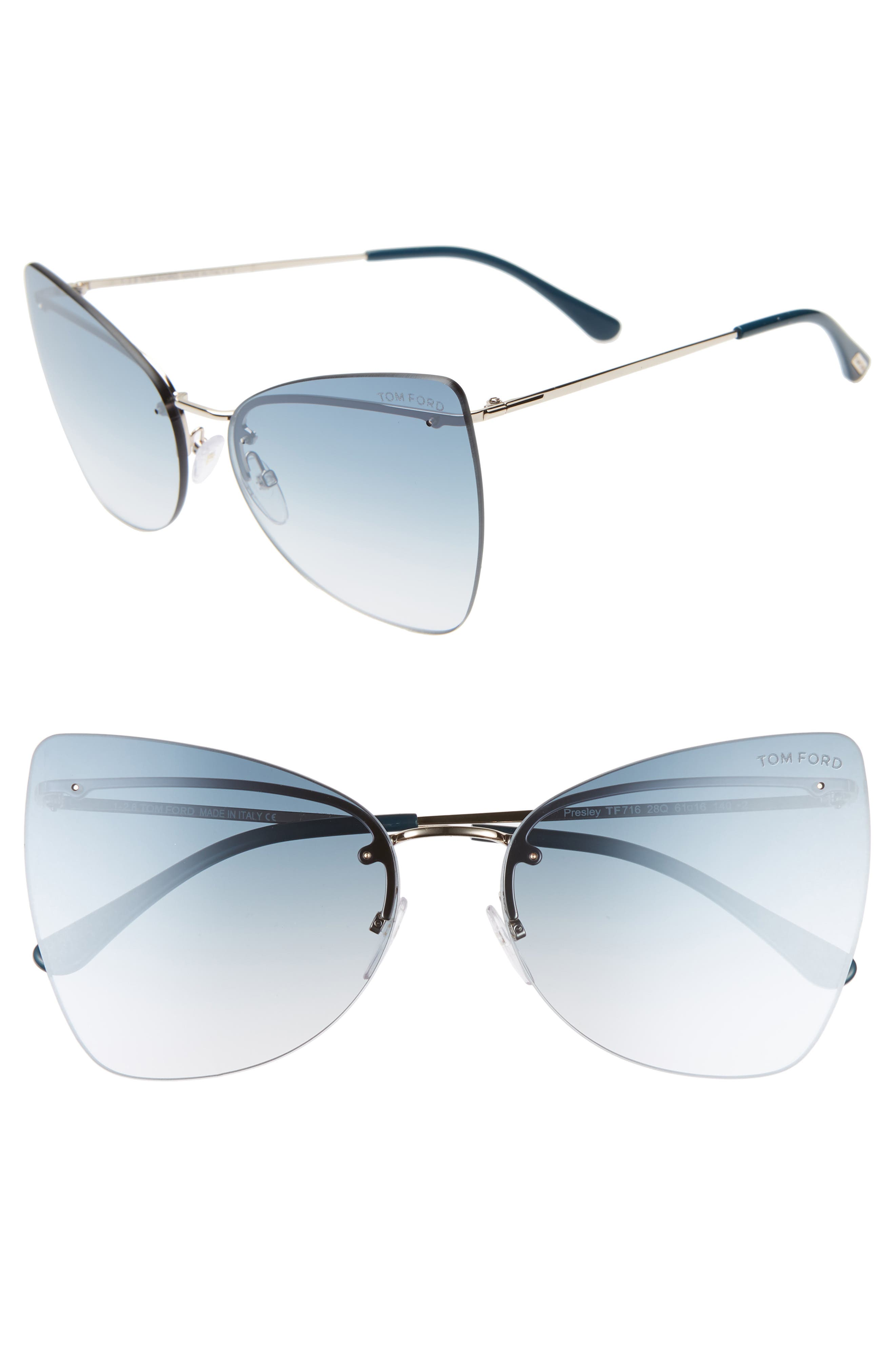 Tom Ford Presley 61Mm Butterfly Sunglasses - Rose Gld/ Blue/turq Sand Silv