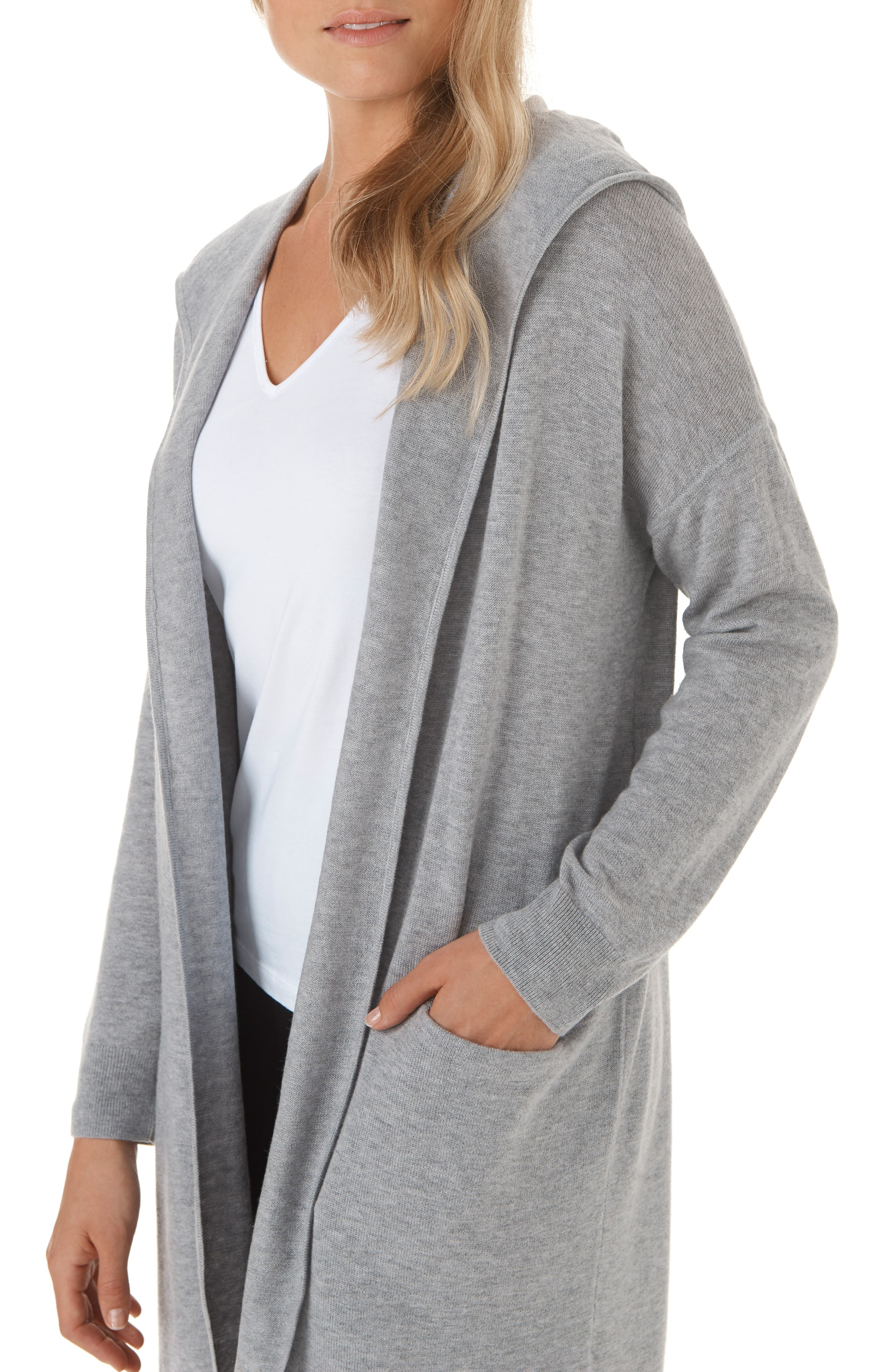 Wool & Cashmere Hooded Cardigan,                             Alternate thumbnail 4, color,                             MGM