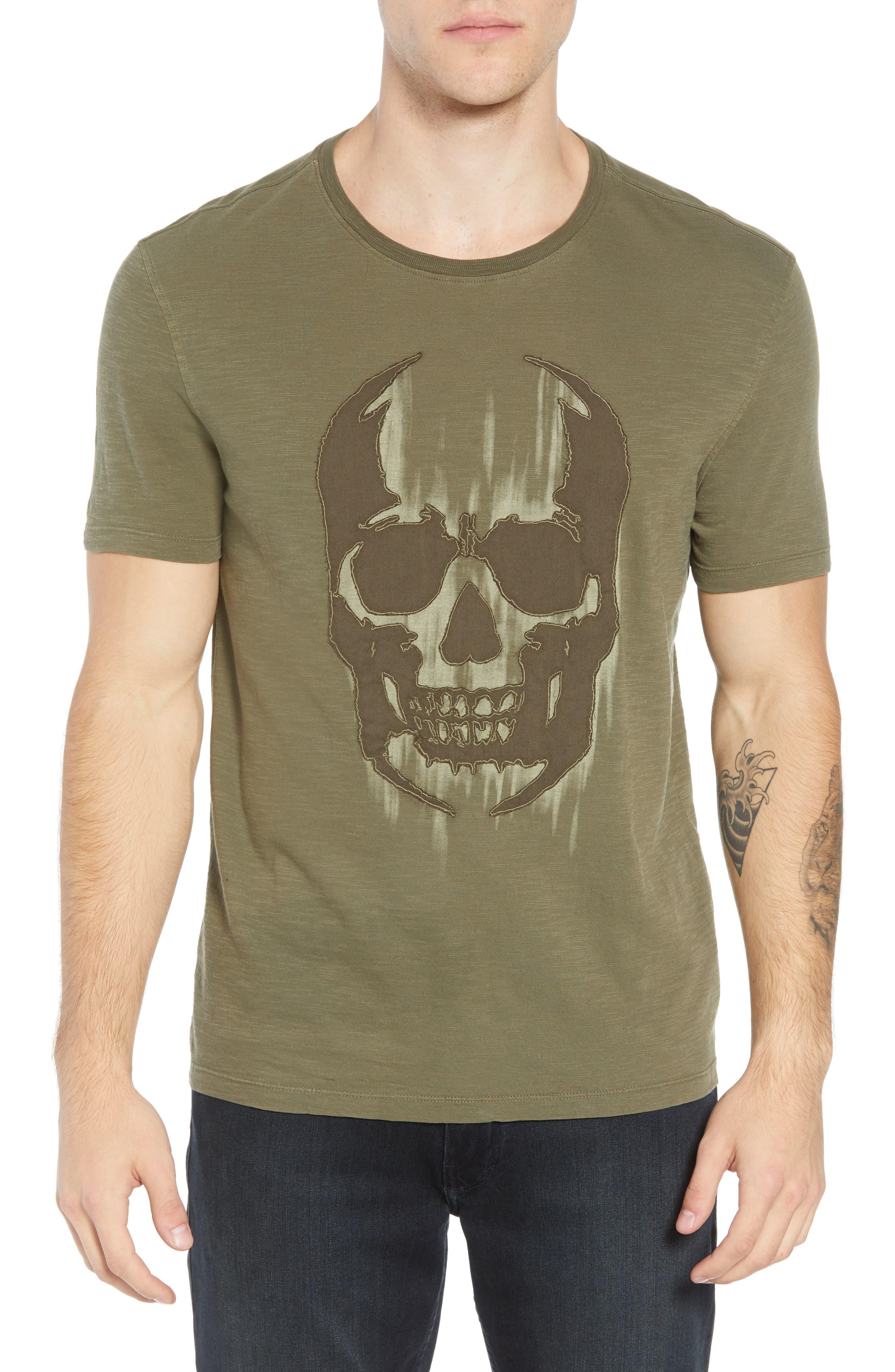 Faded Skull Appliqué T-Shirt,                         Main,                         color, OLIVE
