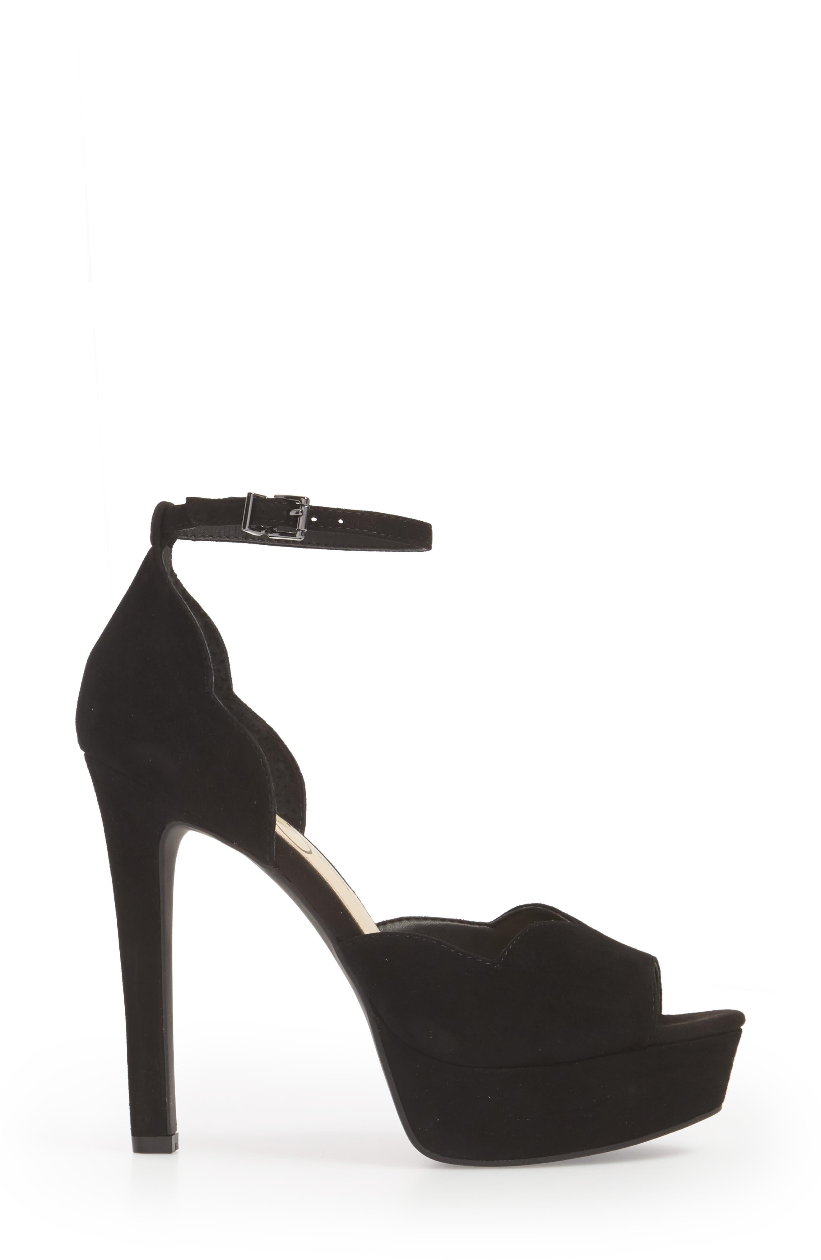 Blick Scalloped Platform Sandal,                             Alternate thumbnail 3, color,                             BLACK