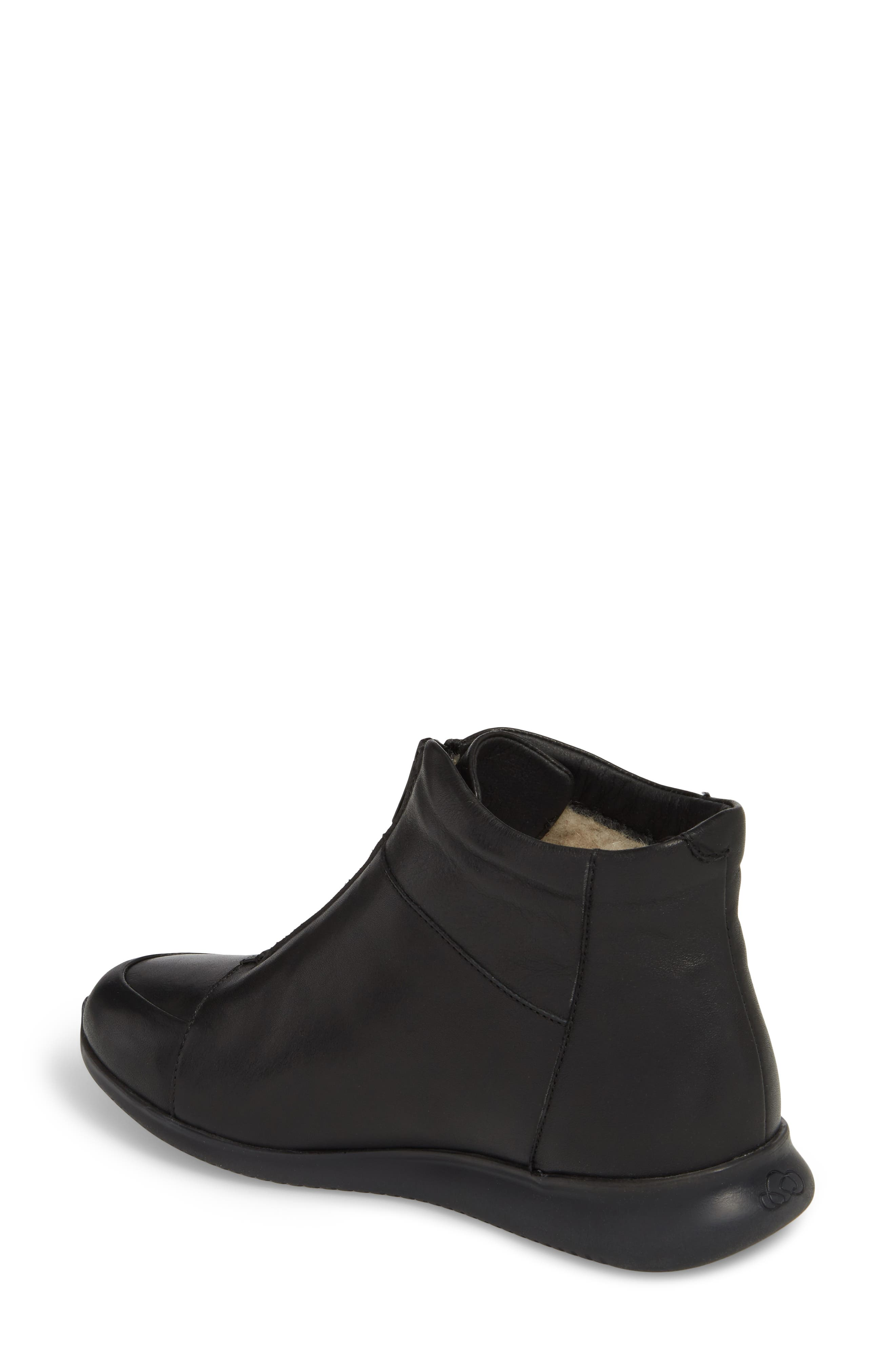 Roy Wool Lined Cap Toe Bootie,                             Alternate thumbnail 2, color,                             BLACK LEATHER