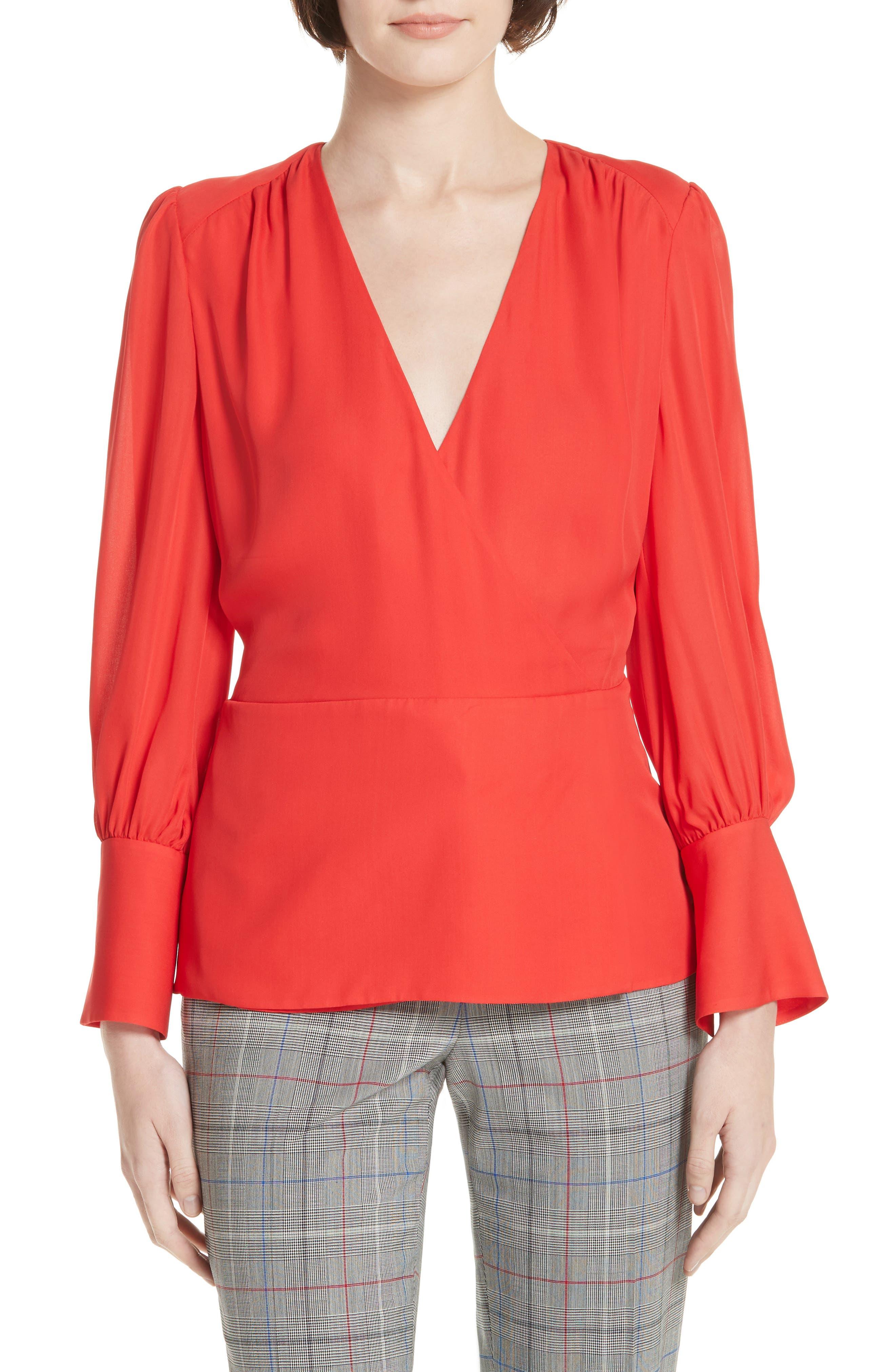 Surplice Silk Blouse, Main, color, RED TOMATO