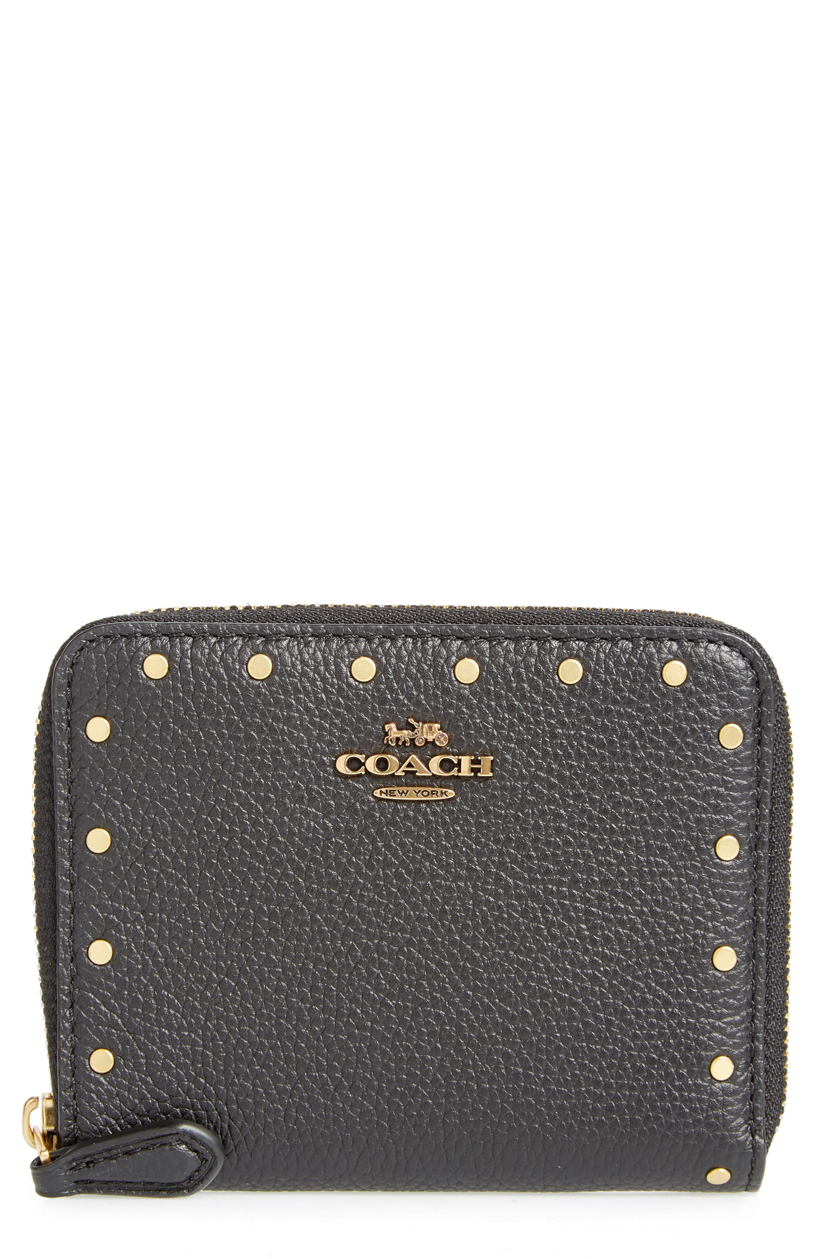 Small Rivets Leather Zip Around Wallet,                         Main,                         color, 001