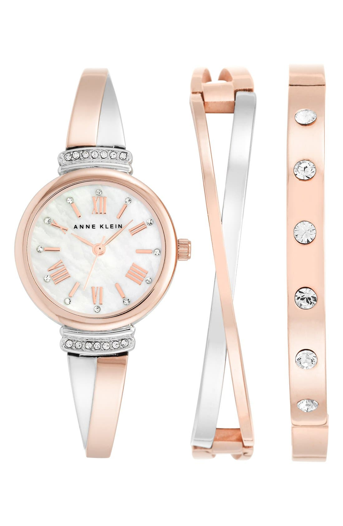 Round Watch & Bangle Set, 26mm,                         Main,                         color, ROSE GOLD/ SILVER