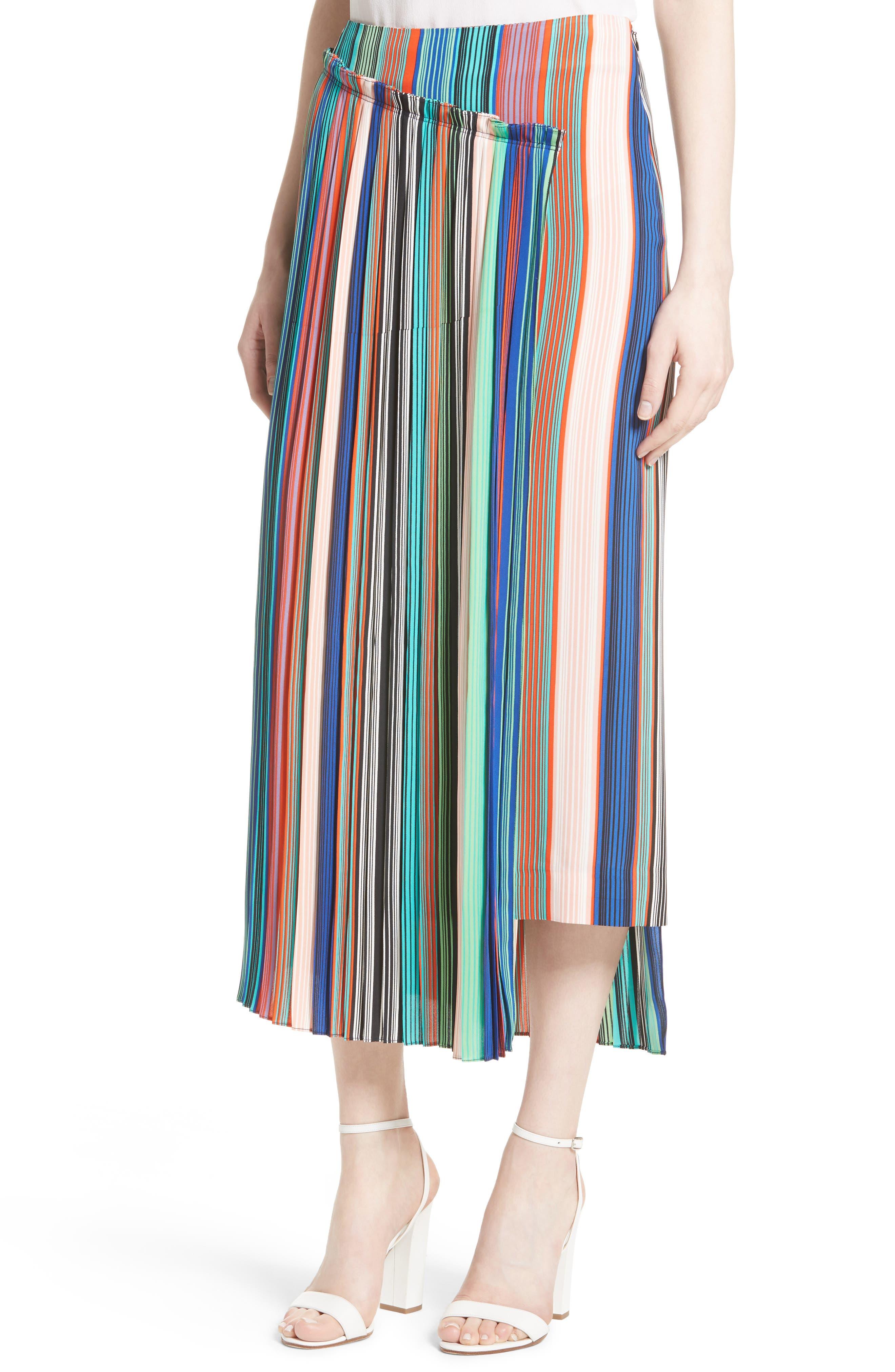 Stripe Asymmetrical Overlay Midi Skirt,                             Alternate thumbnail 4, color,                             207