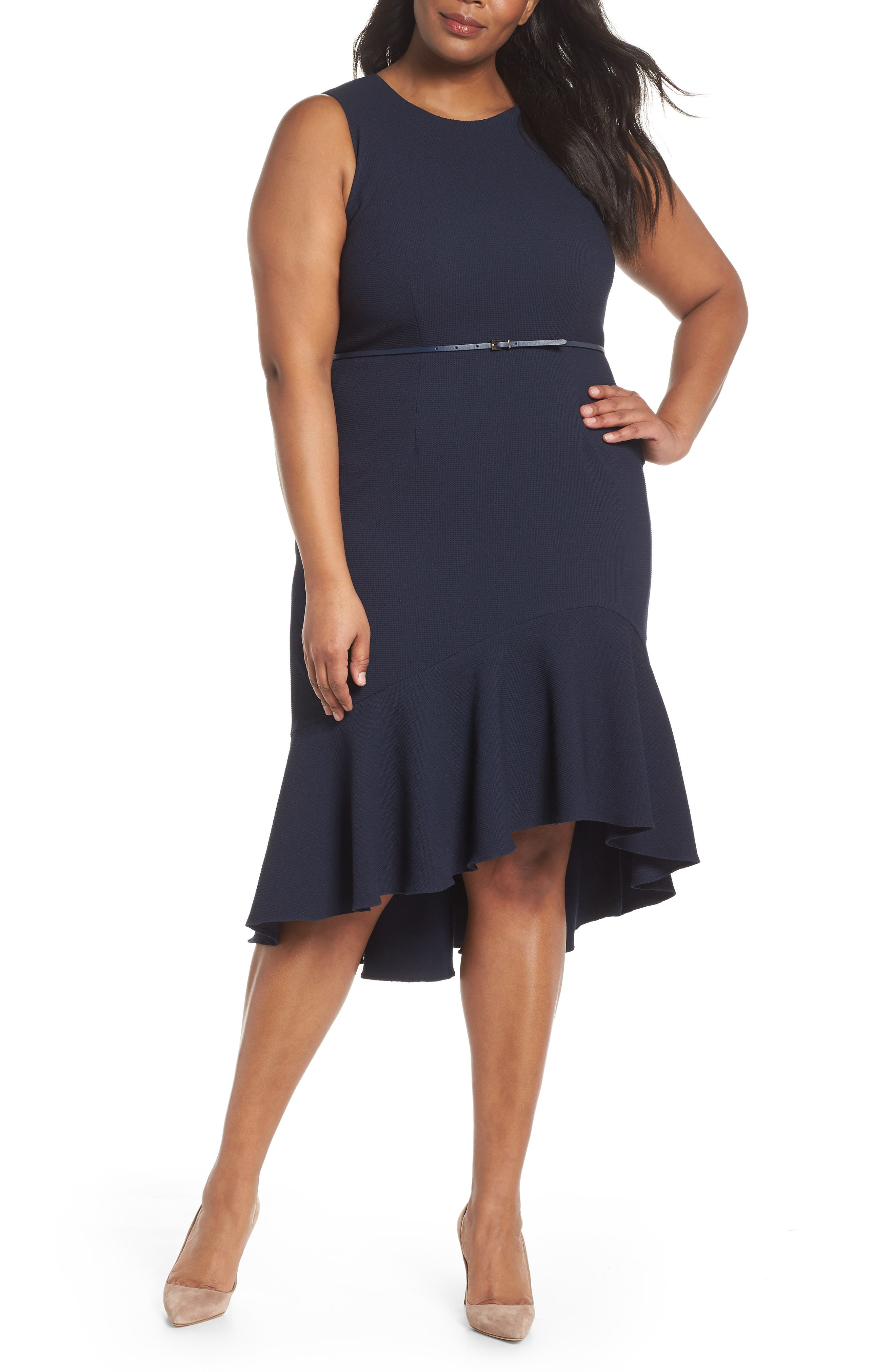 Structured Knit Asymmetrical Trumpet Midi Dress,                         Main,                         color,