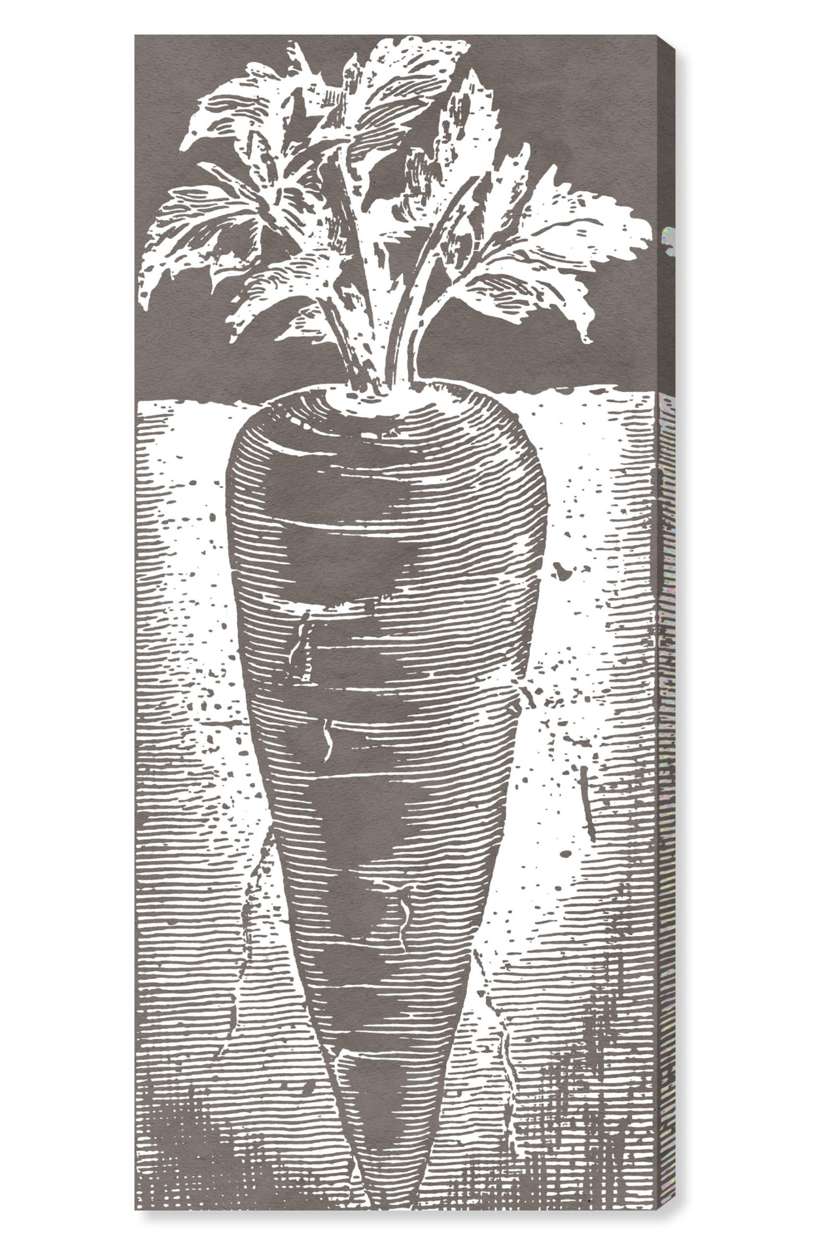 Carrot Woodblock Wall Art,                             Main thumbnail 1, color,                             GREY