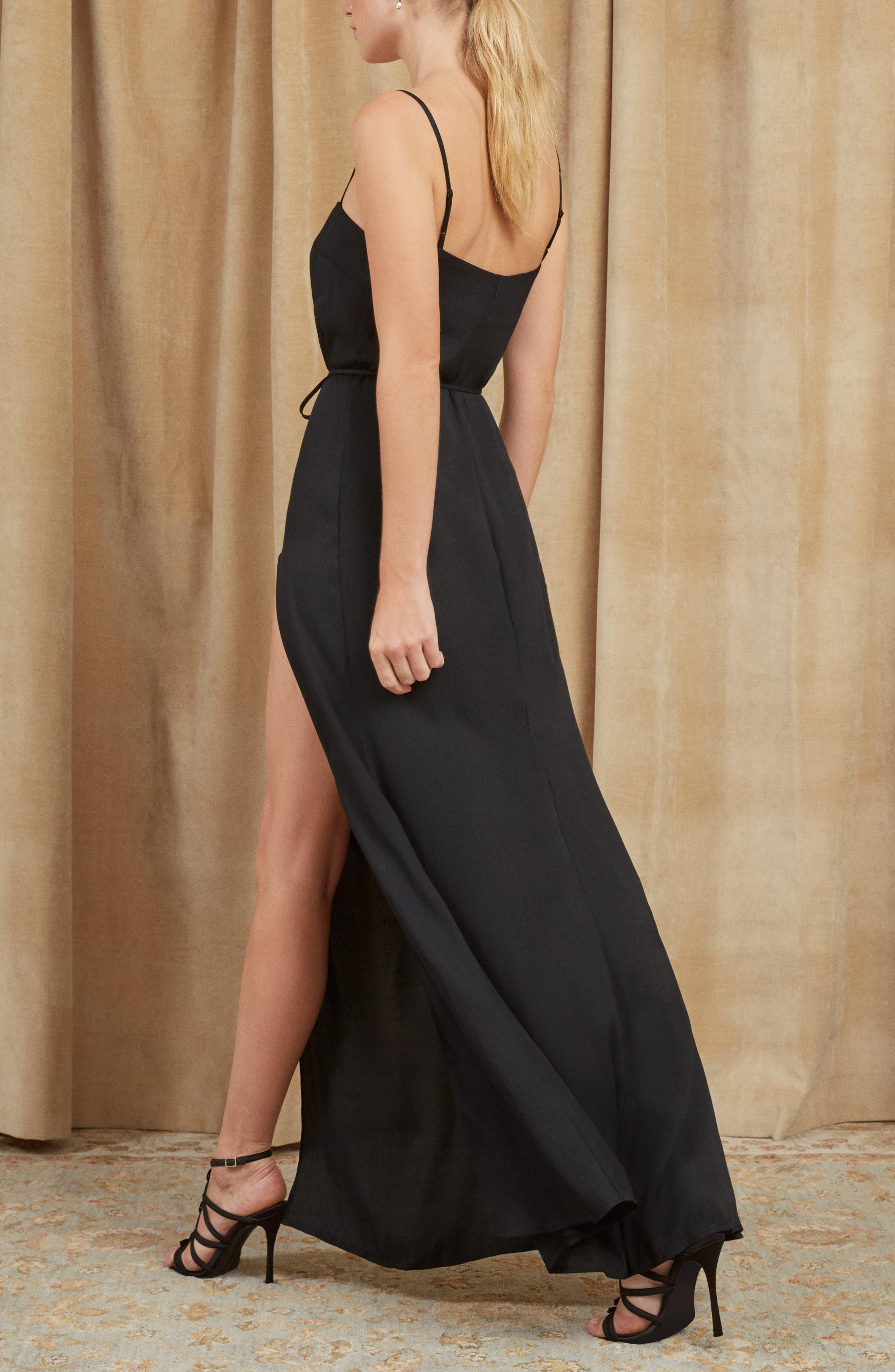Keys Slit Maxi Dress,                             Alternate thumbnail 3, color,                             BLACK