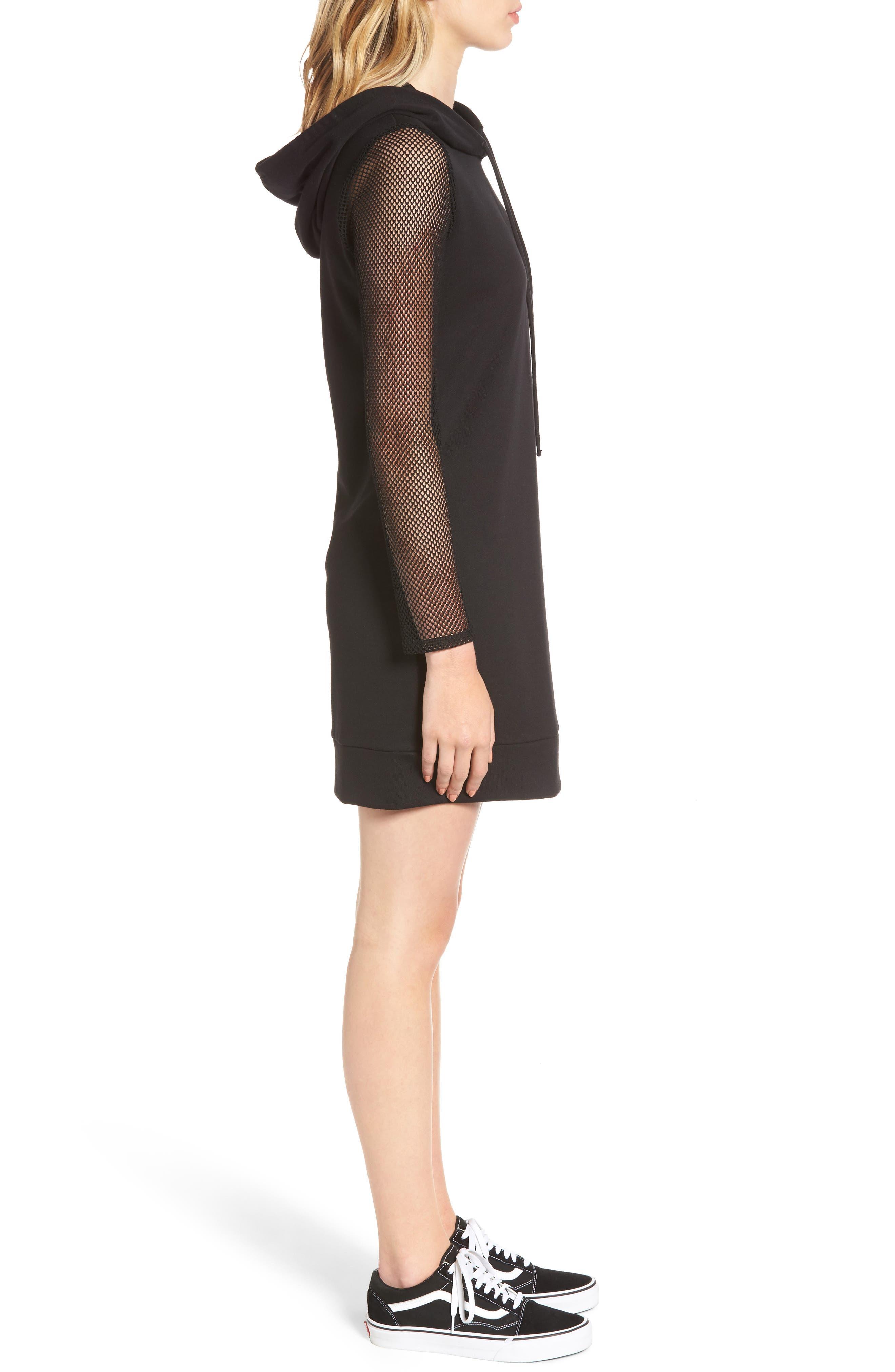 Mesh Sleeve Hoodie Dress,                             Alternate thumbnail 3, color,                             001