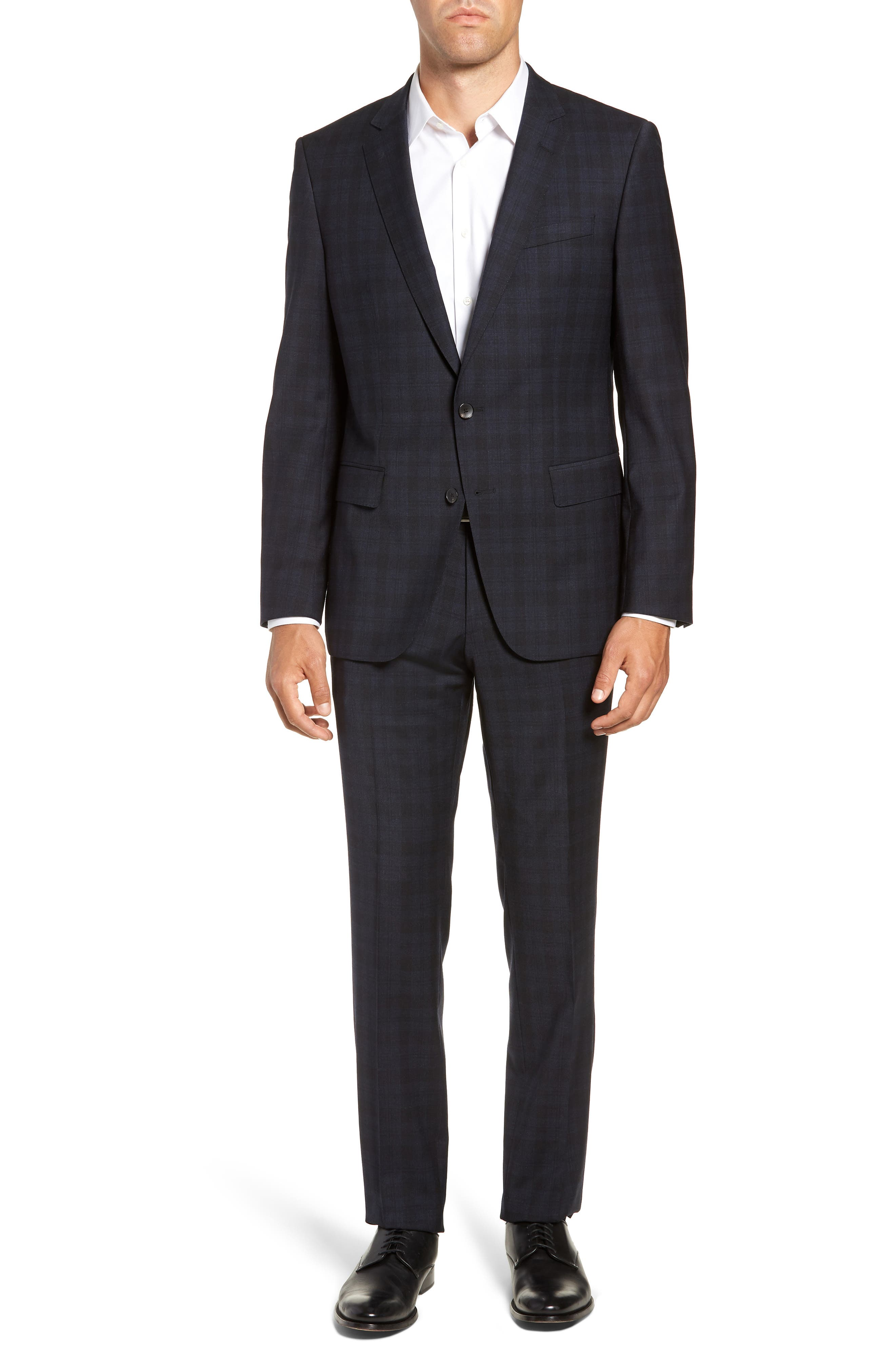 Huge/Genius Trim Fit Stretch Plaid Wool Suit,                             Main thumbnail 1, color,                             BLUE